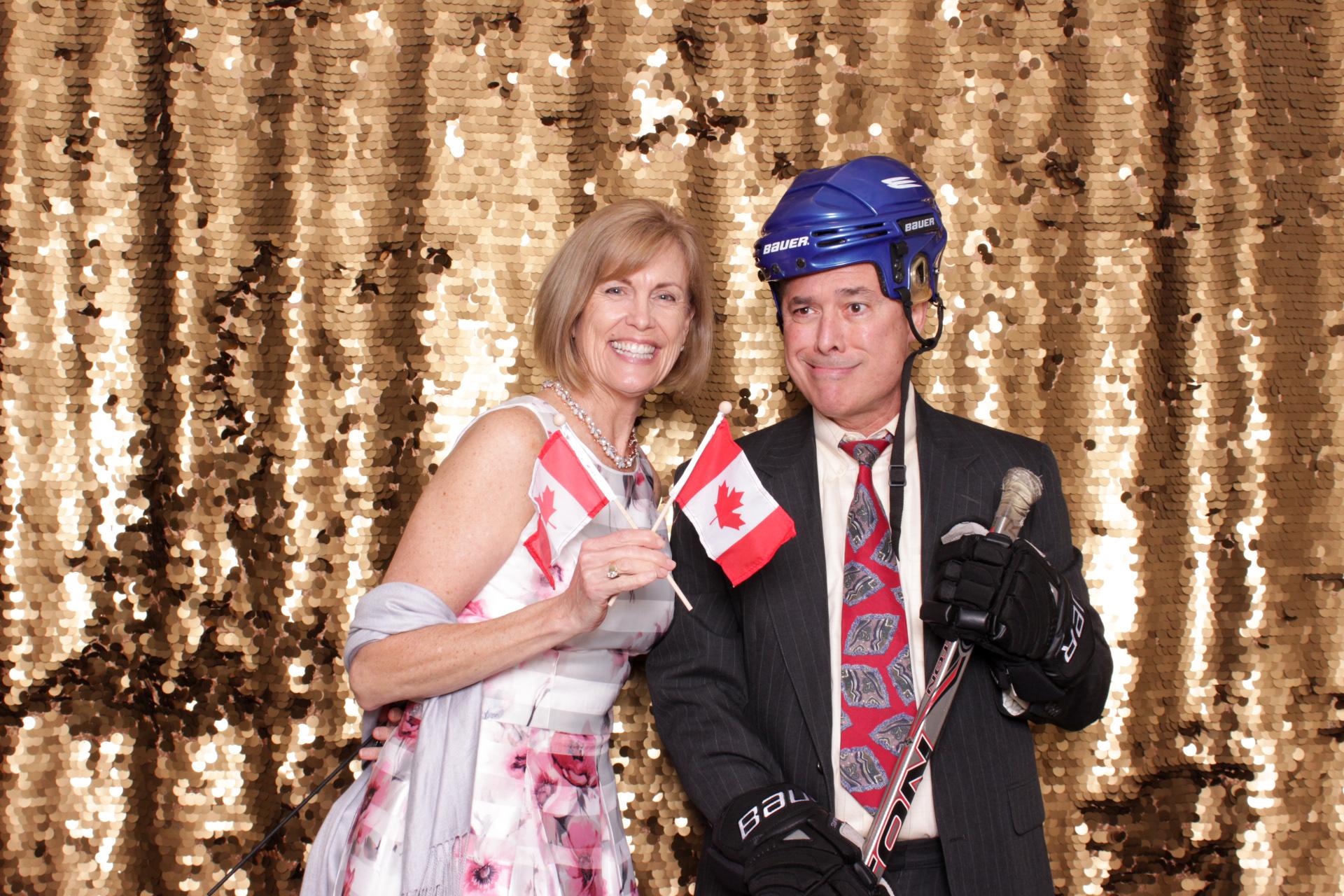 photo props canada flag hockey gear gold background