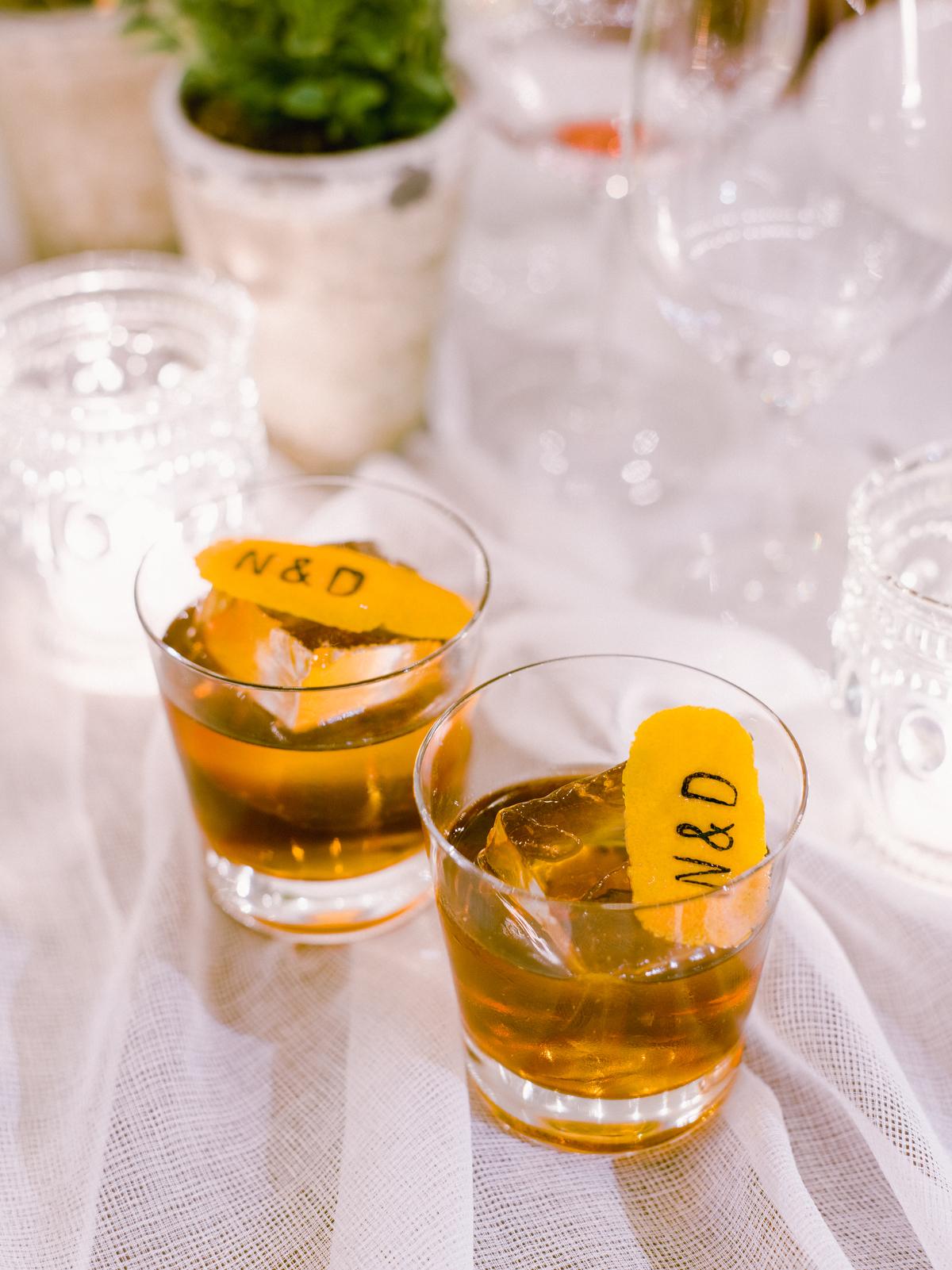 nadine dan wedding cocktail initials