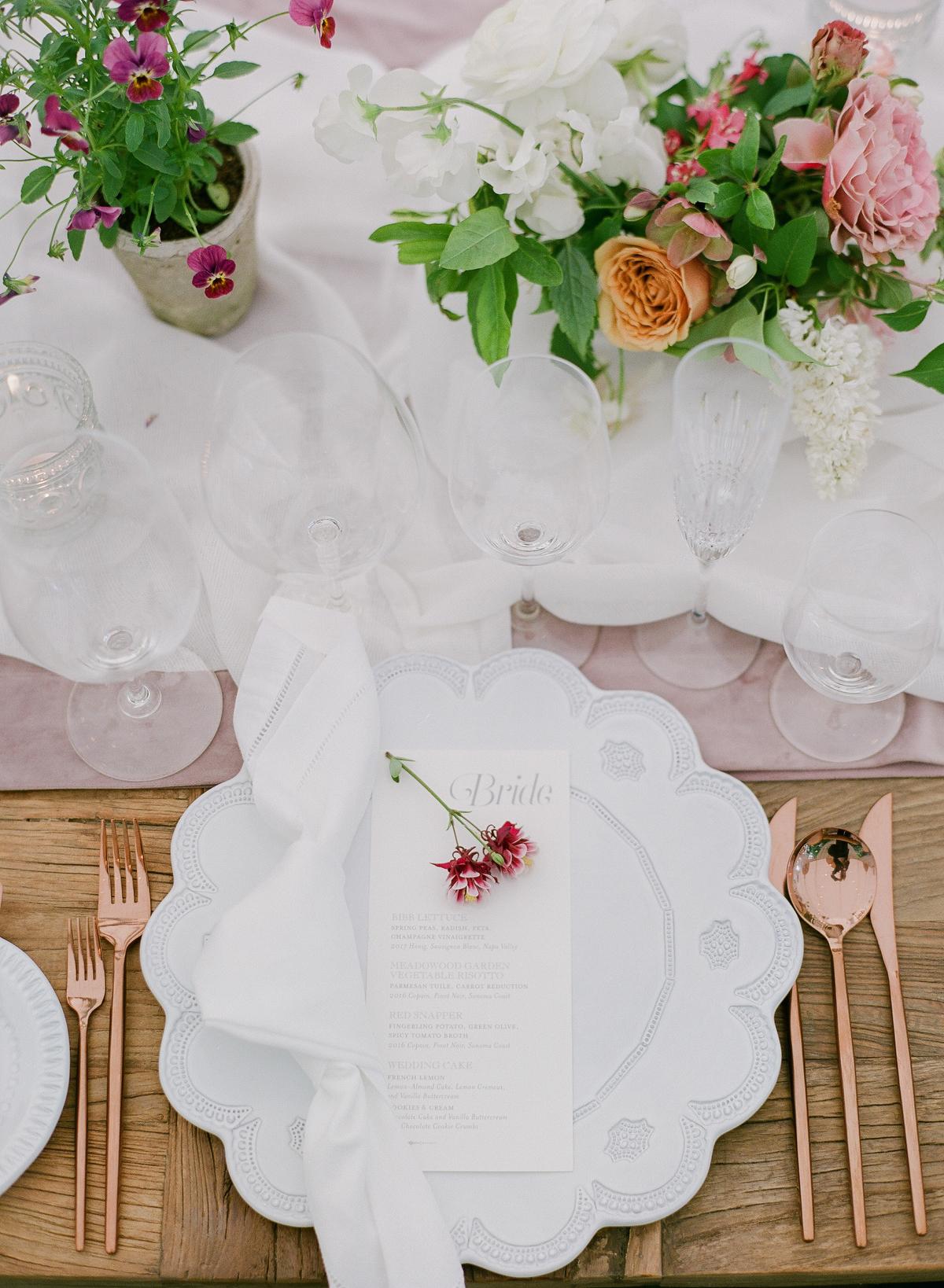 nadine dan wedding place setting