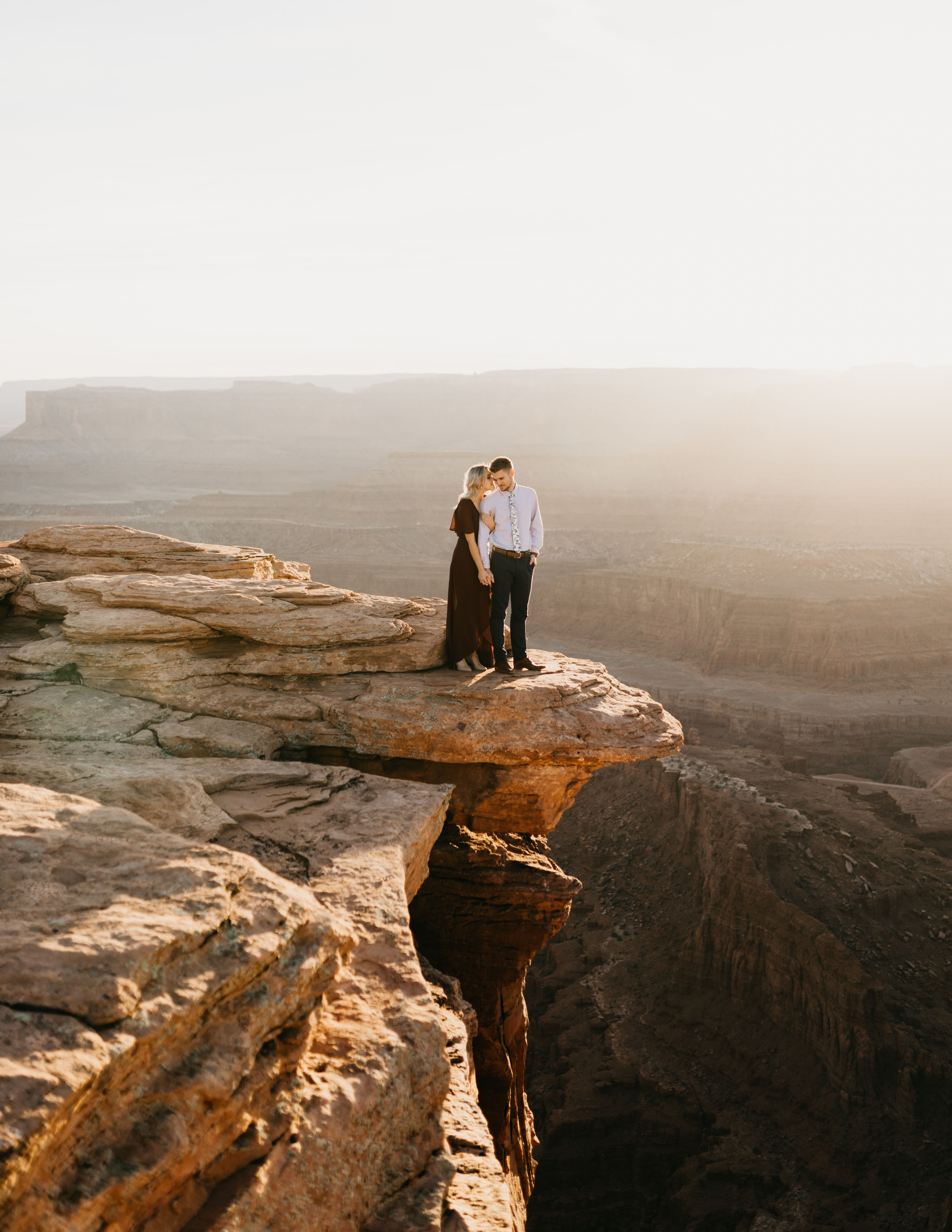 destination engagement couple state park top of cliff canyon