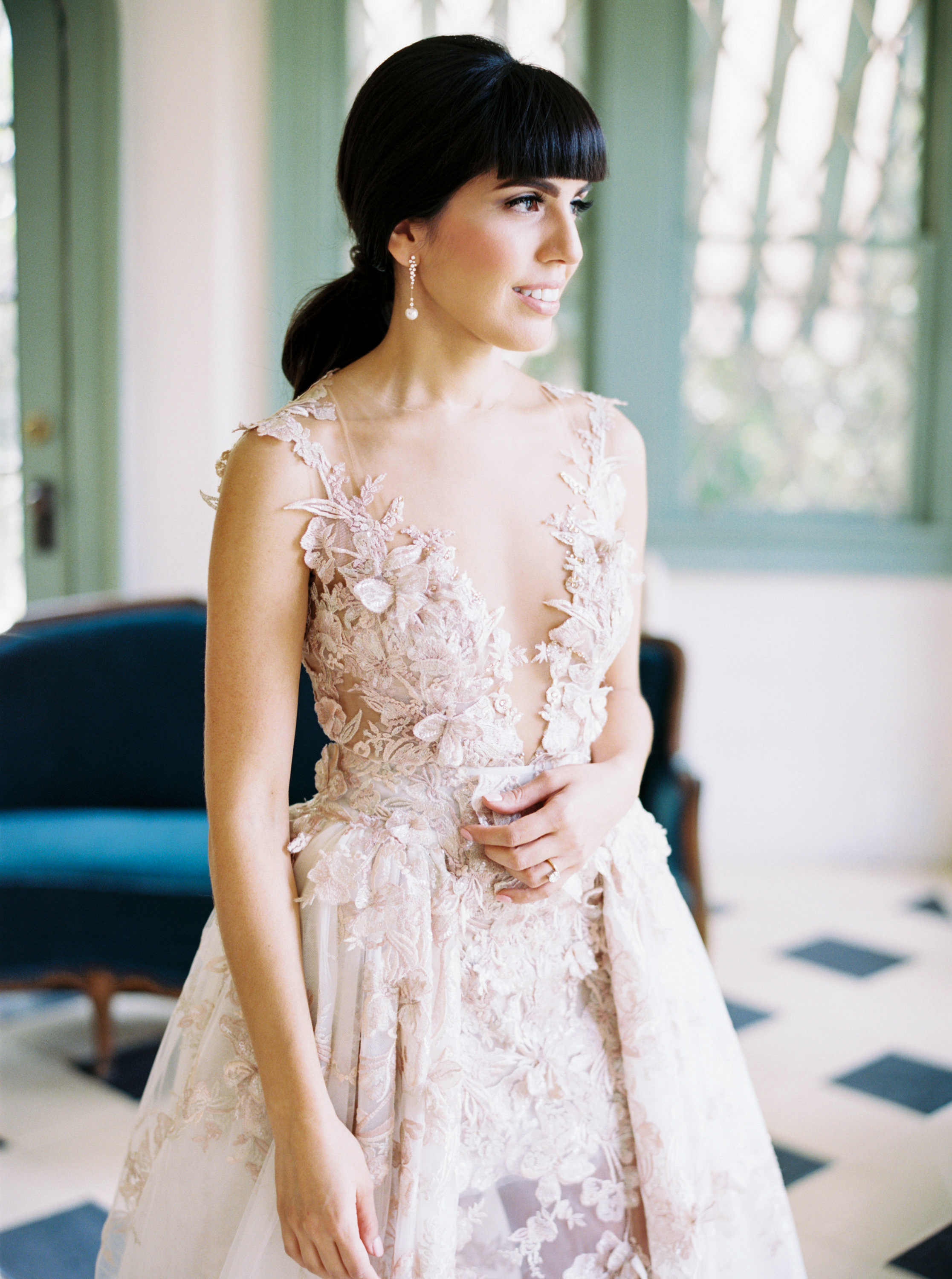bride gown sheer tulle lace appliques and rhinestones