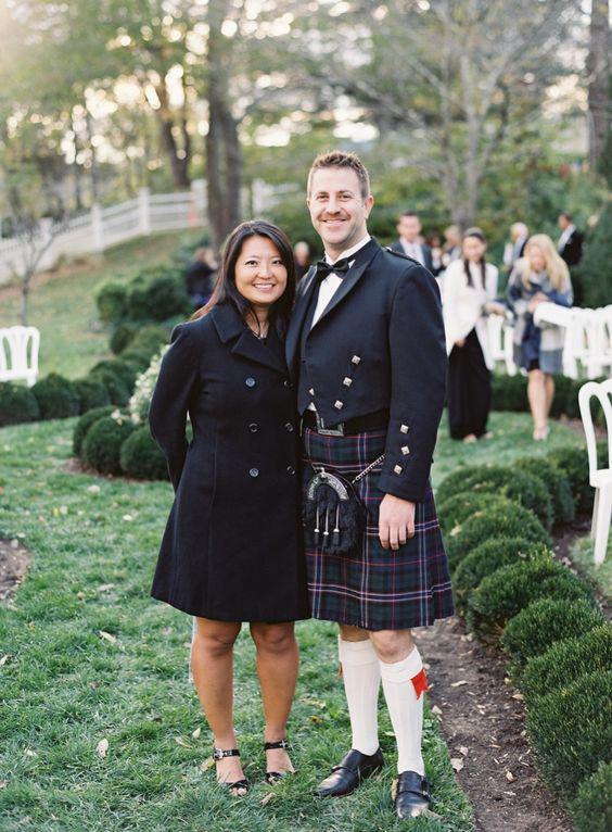 winter wedding guest attire couple man in kilt