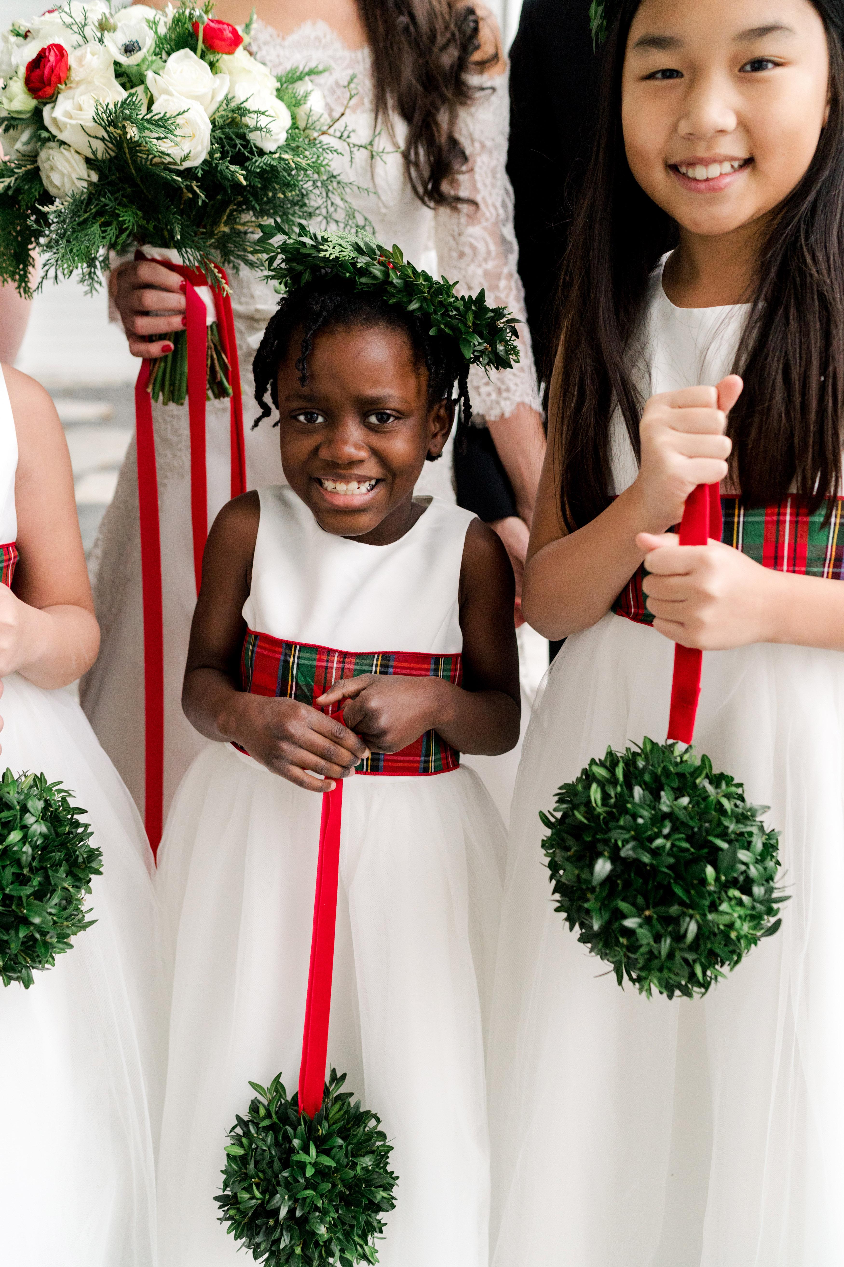 lauren christian christmas wedding couple flower girls