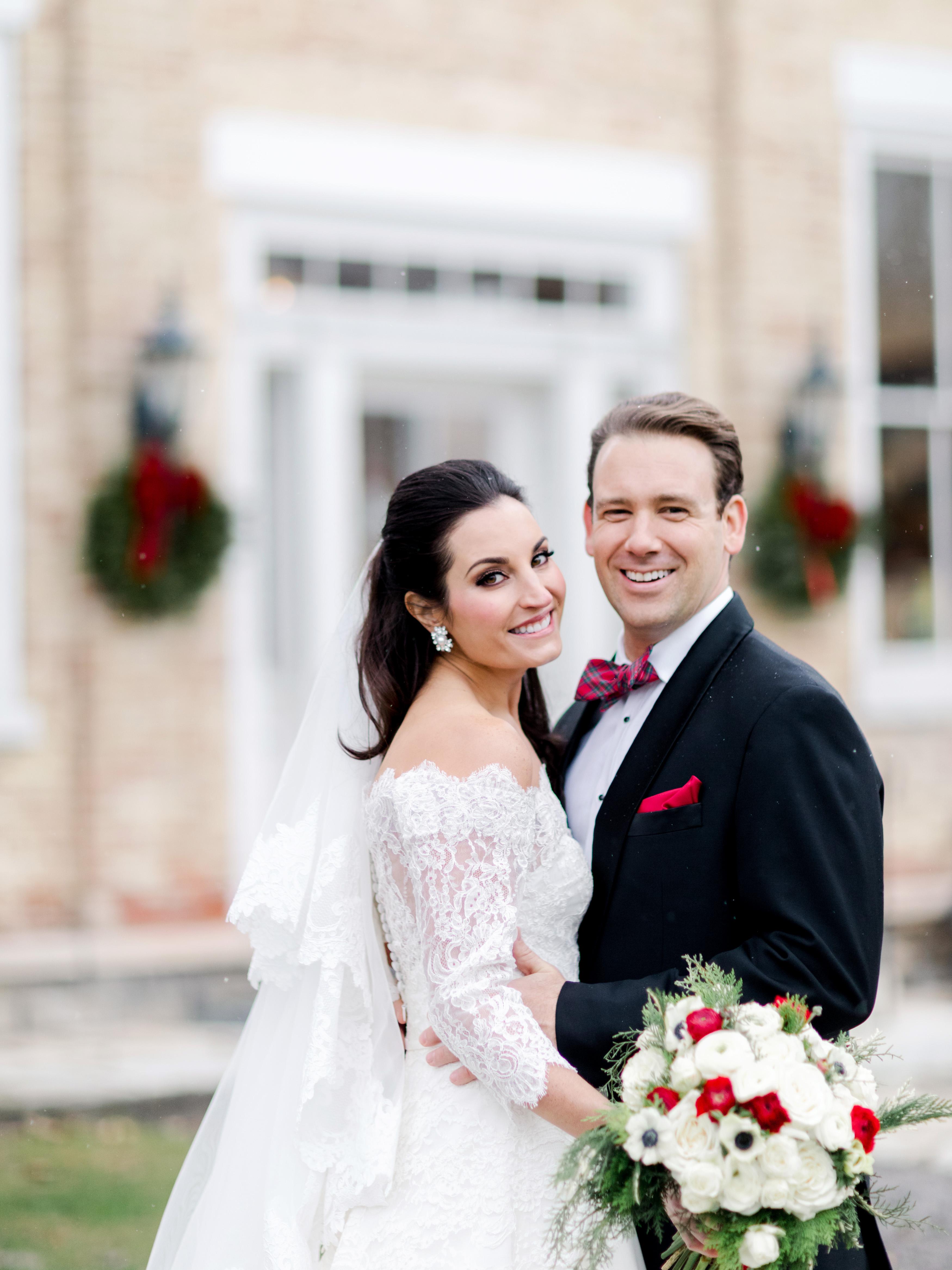 lauren christian christmas wedding couple outside
