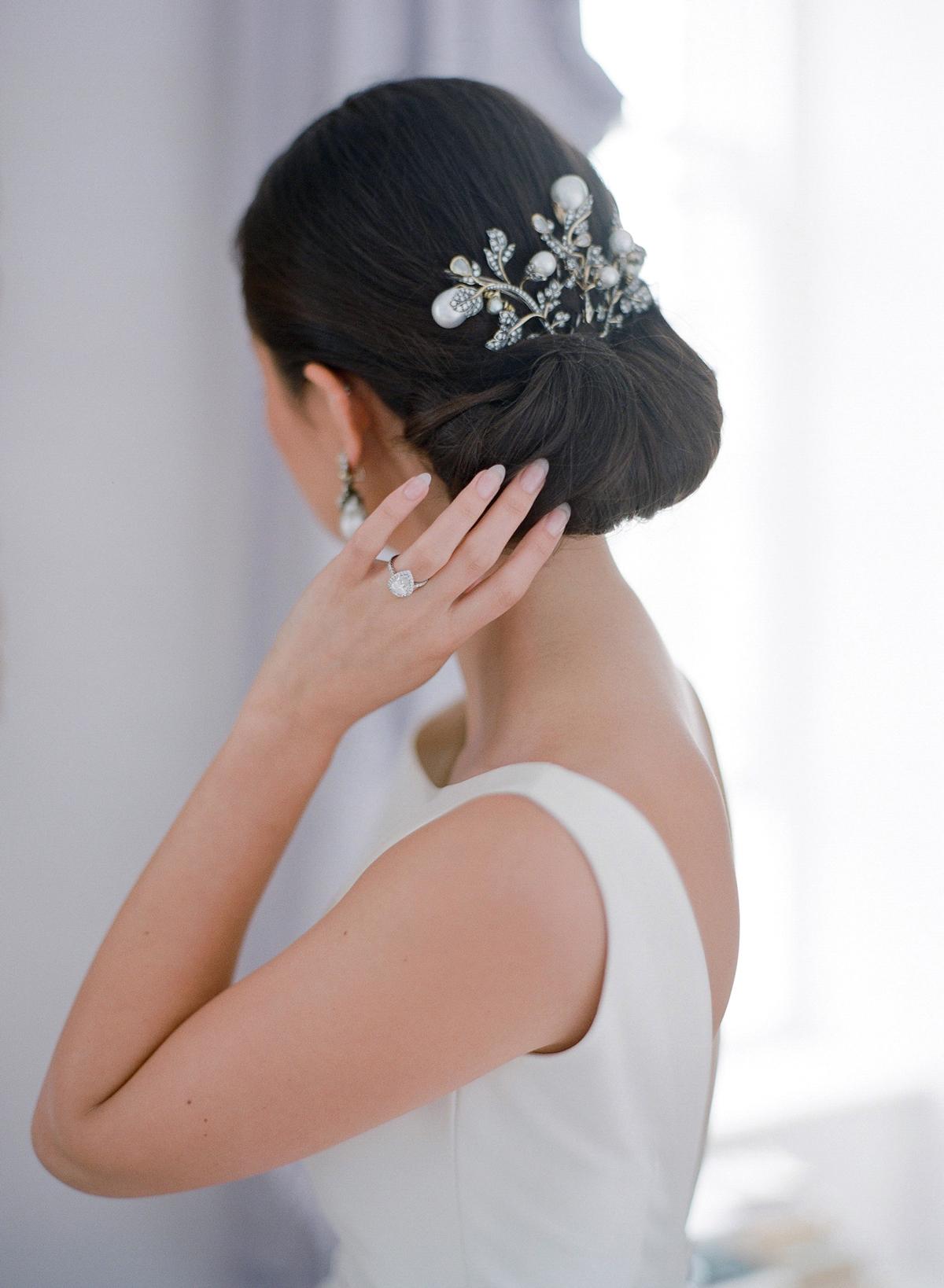 peony matthew england wedding brides updo with venetian hairpiece