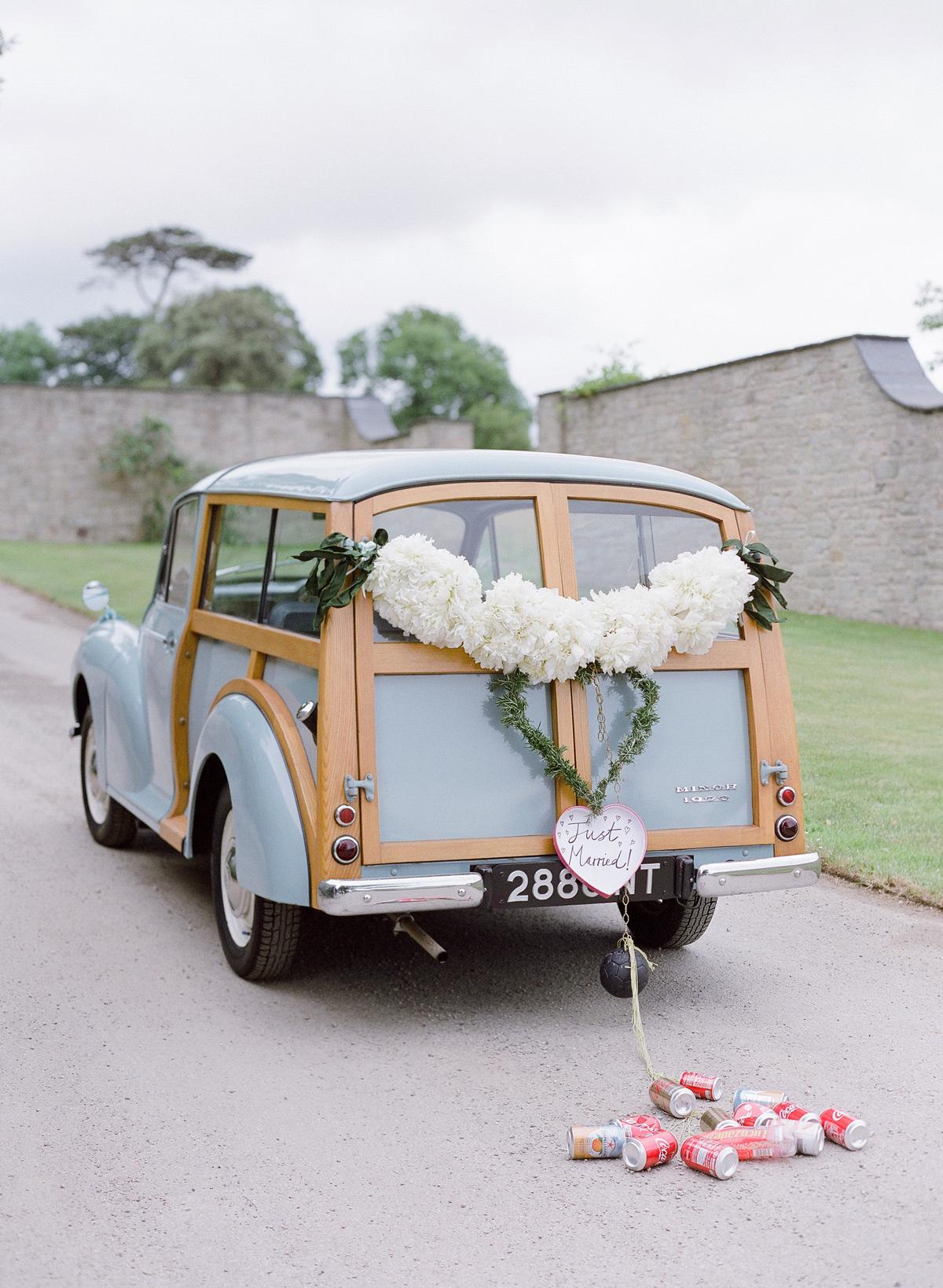 peony matthew england wedding decorated station wagon