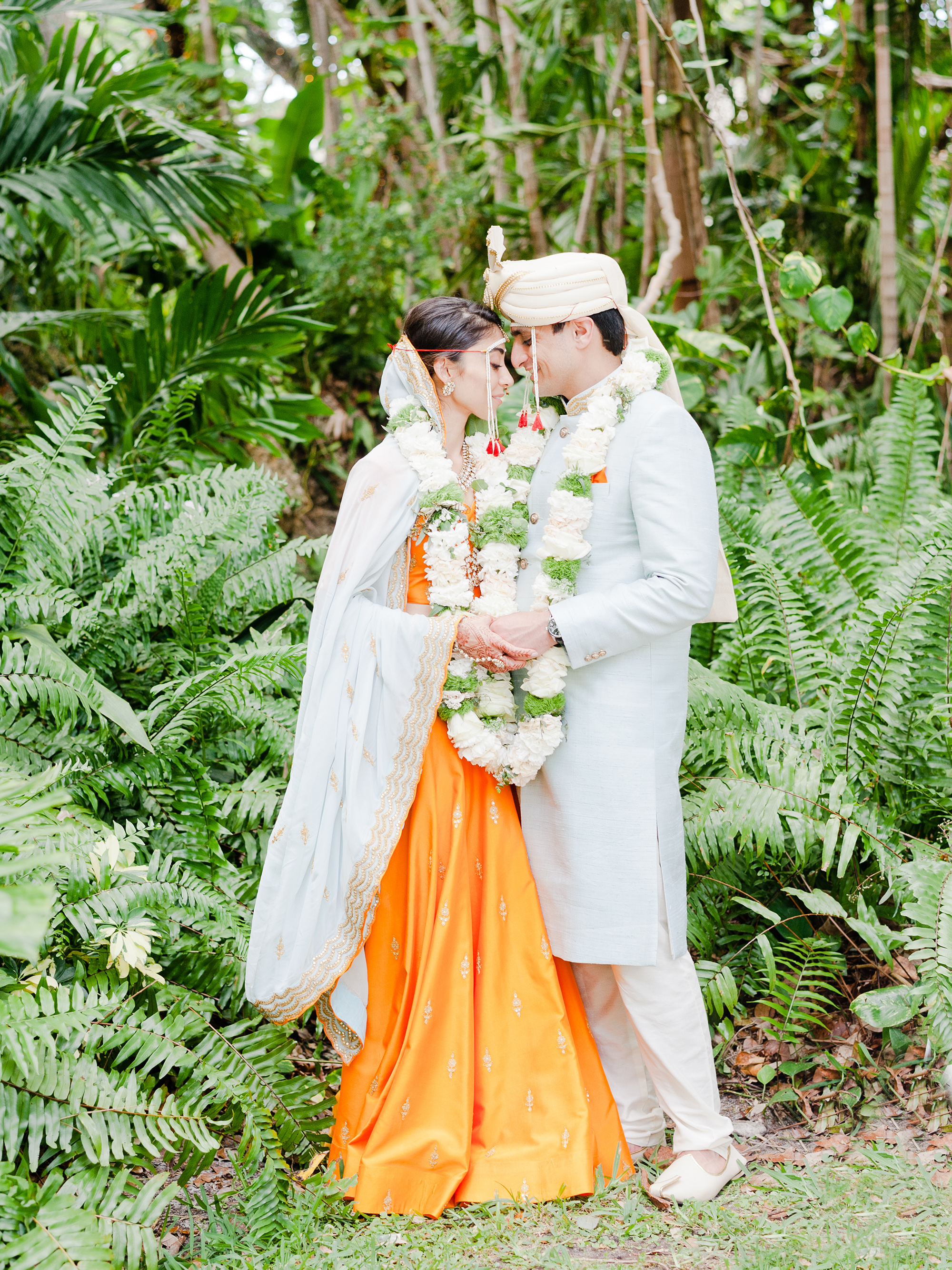 A Lush Garden in Miami Served as the Backdrop for This Couple's Colorful Indian Wedding