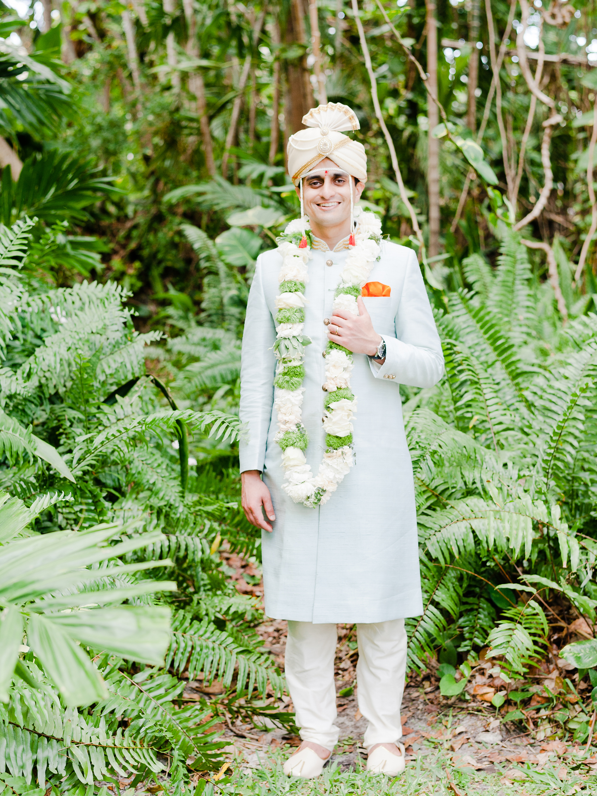 anuja nikhil wedding groom ferns palms