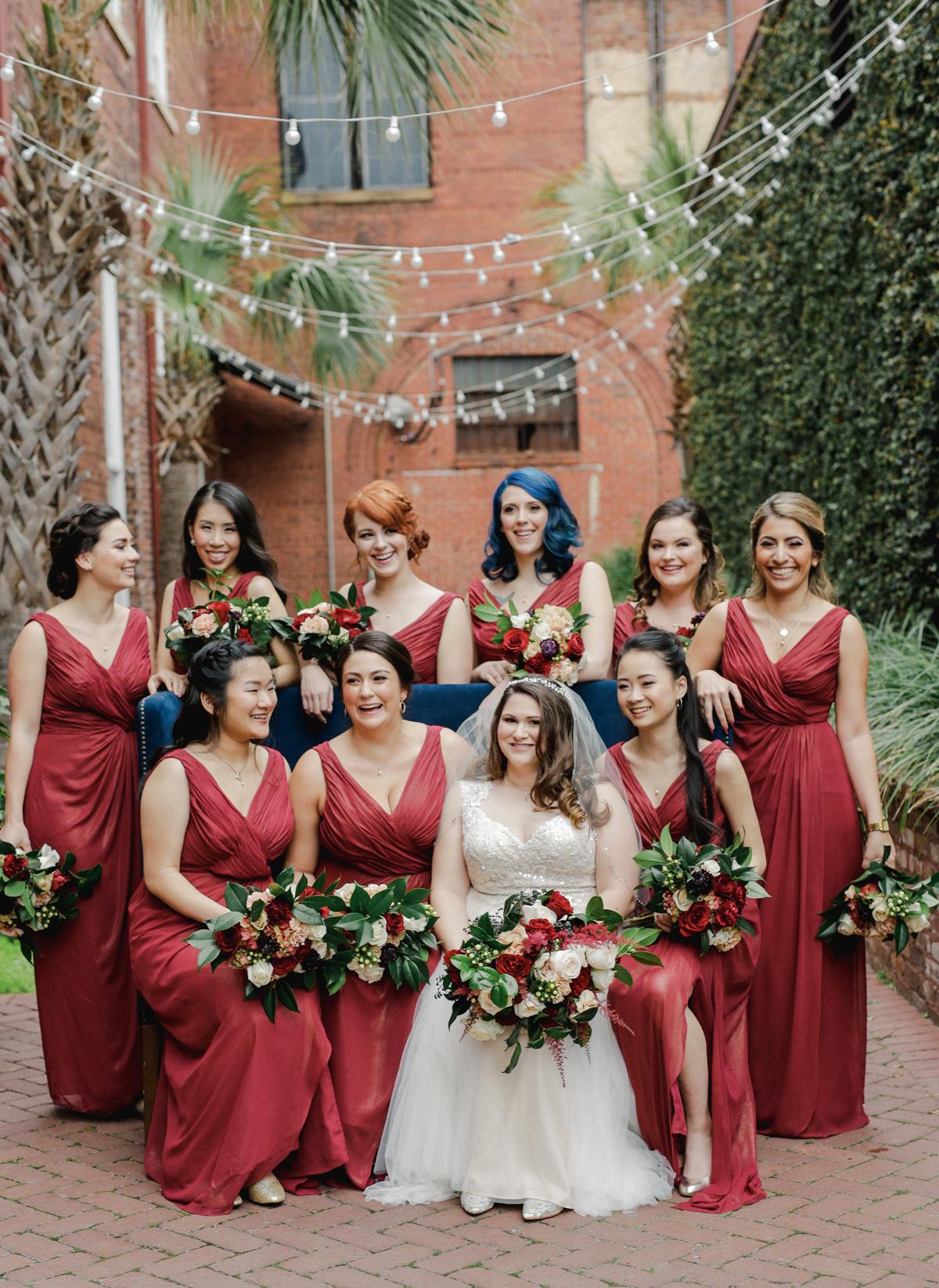 elizabeth seth wedding bride with bridesmaids