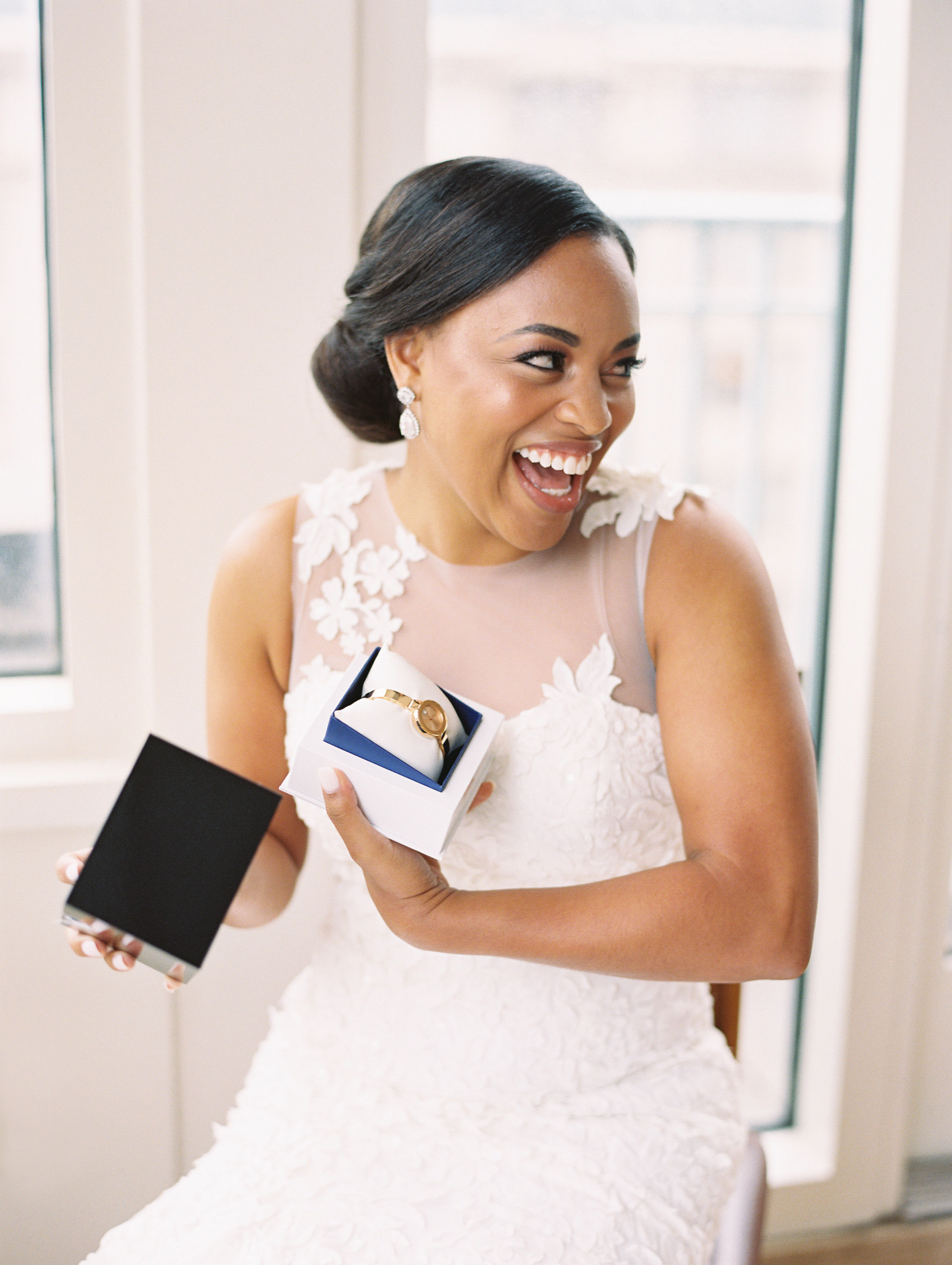 melissa justen wedding bride with watch gift