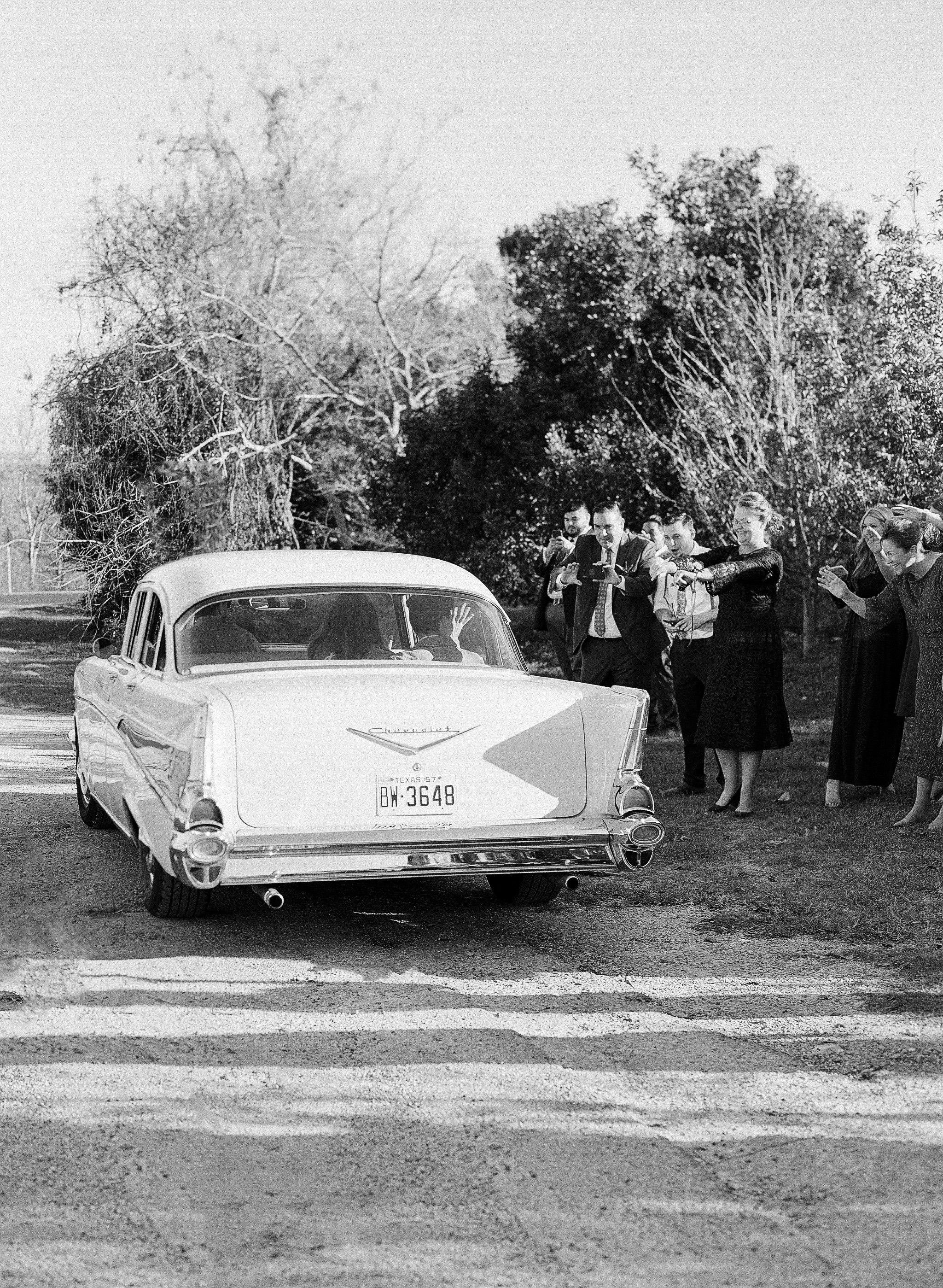 hayleigh corey wedding vintage getaway car