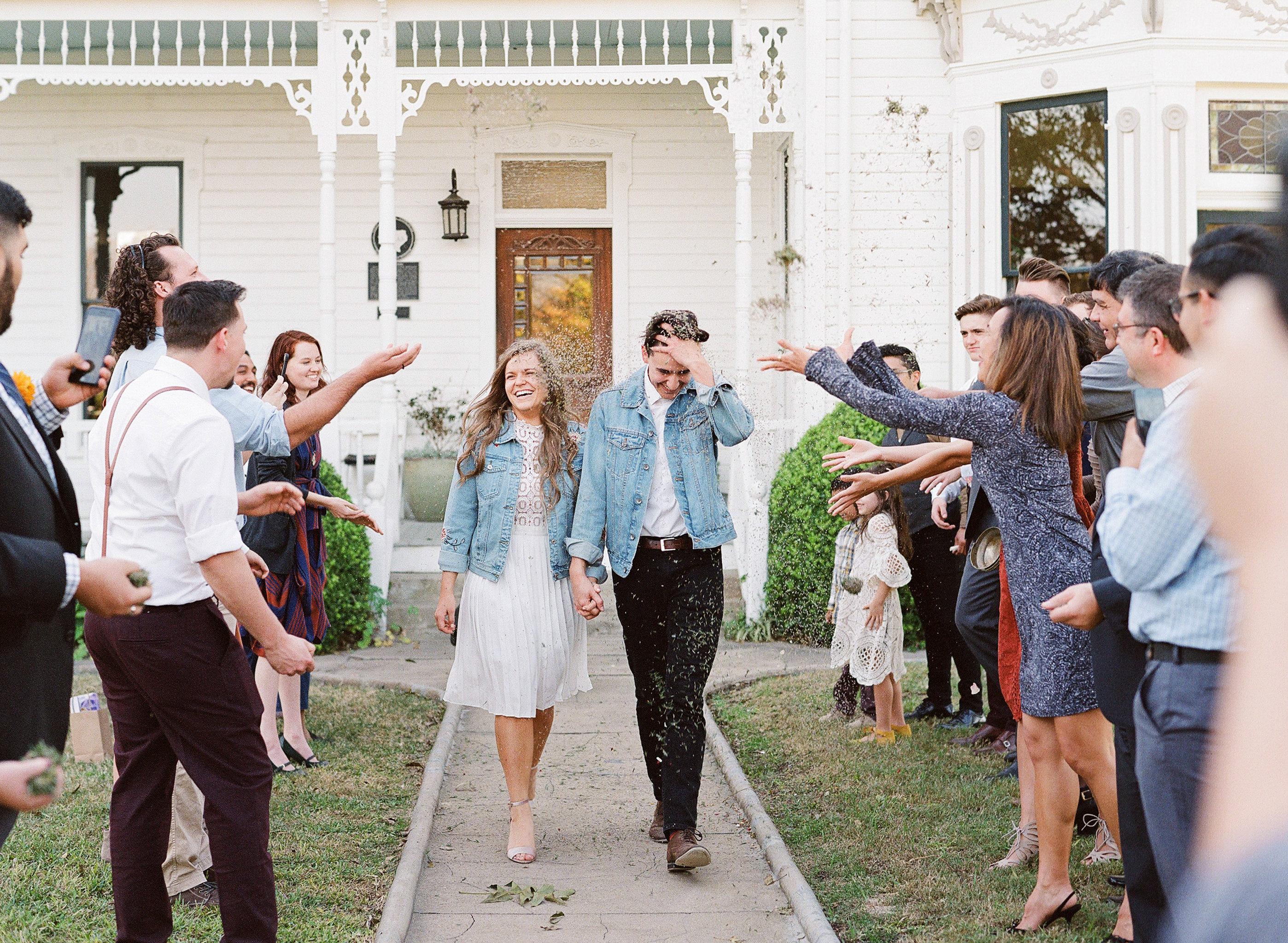 hayleigh corey wedding couple exit
