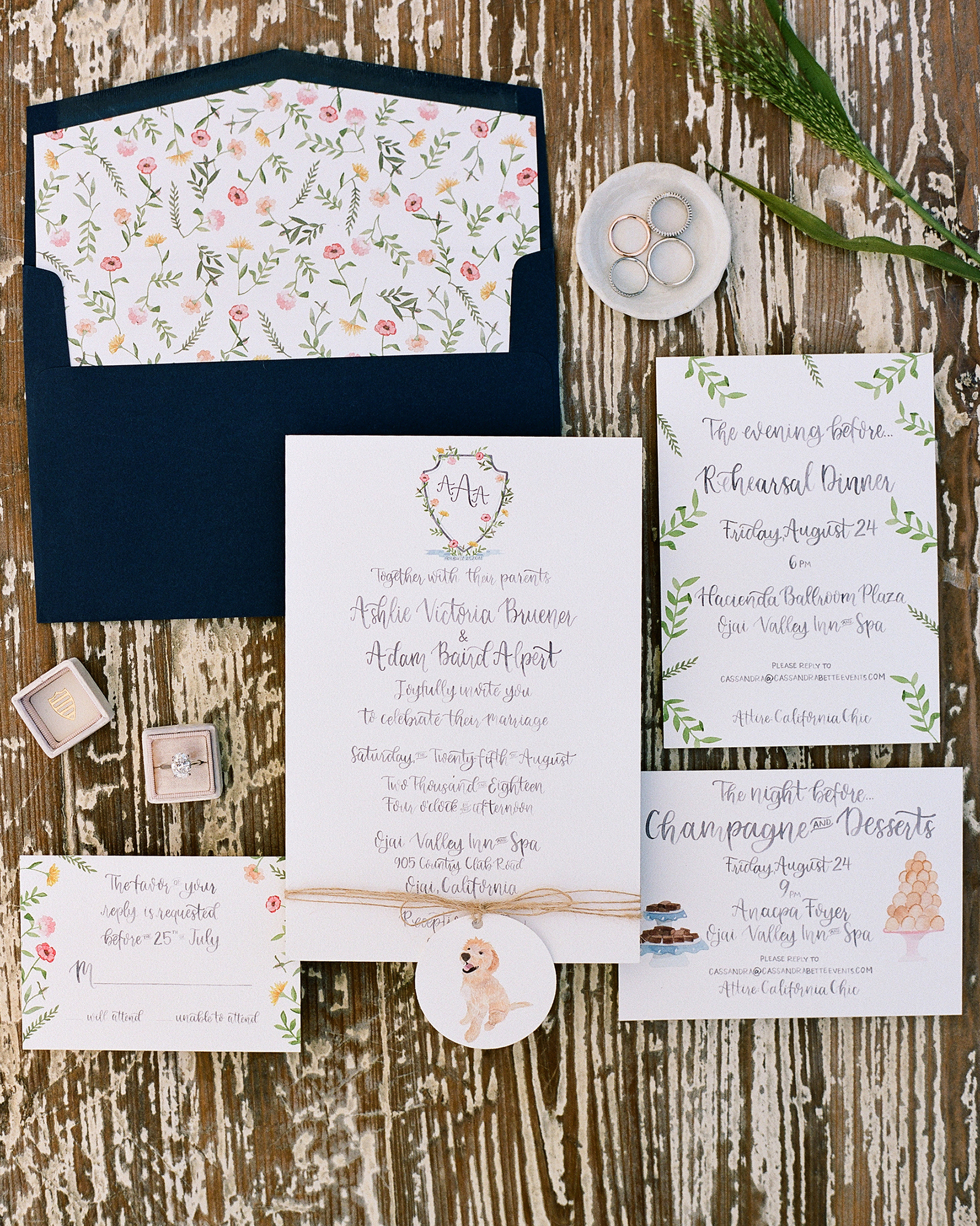 ashlie adam alpert wedding invitation suite