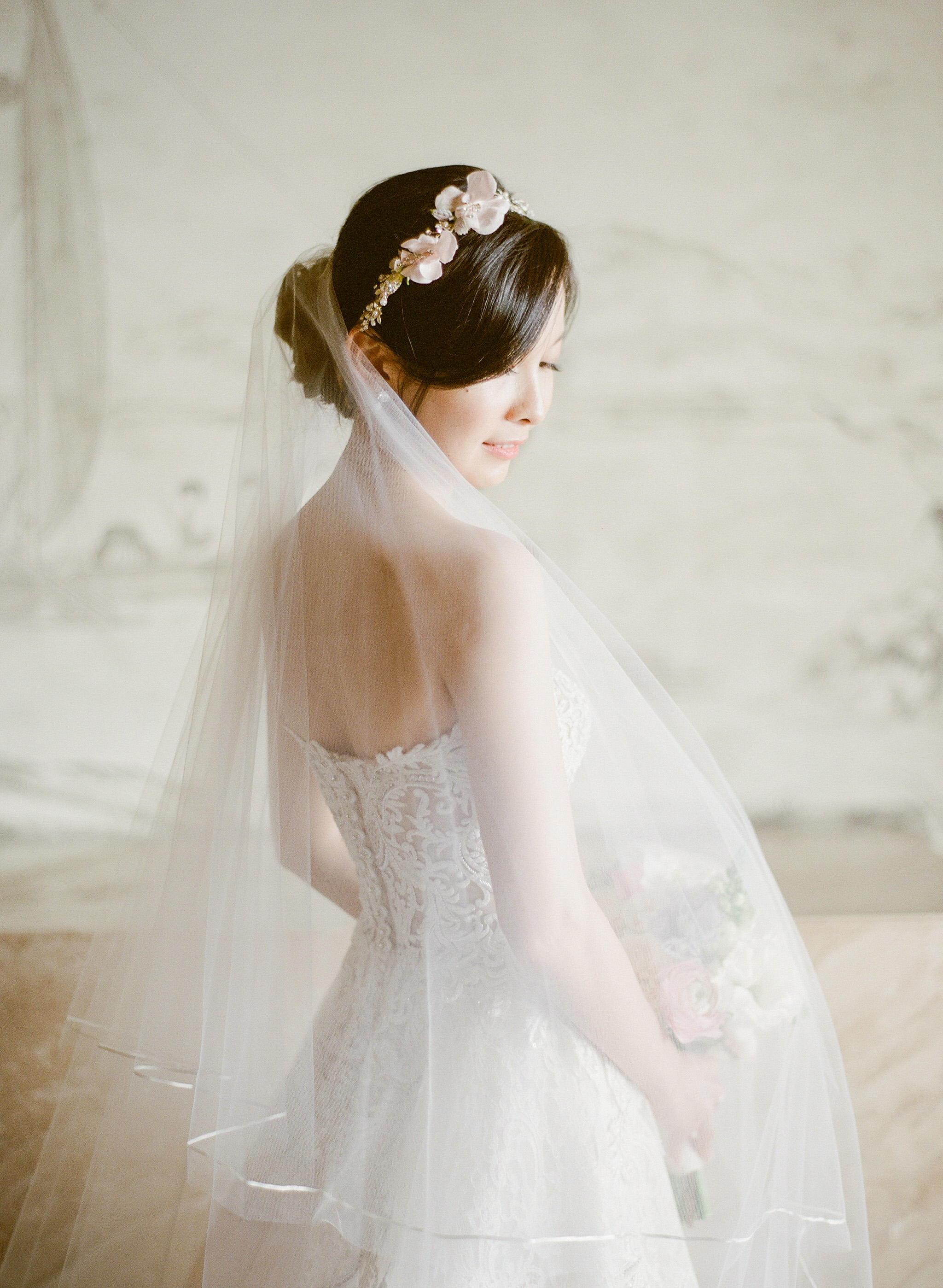 bride wedding gown floral headpiece tulle veil