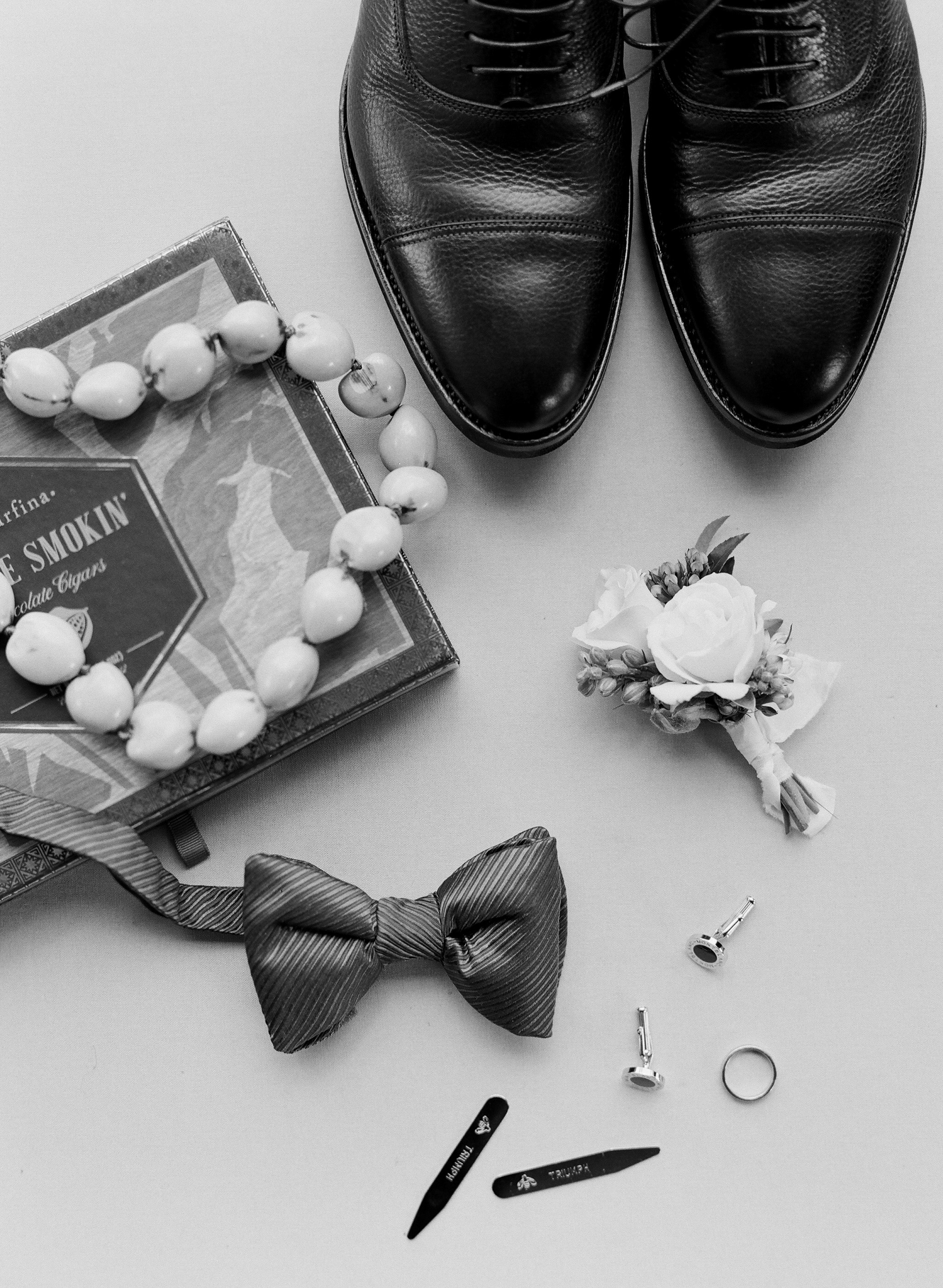 groom wedding accessories bow shoes boutonniere
