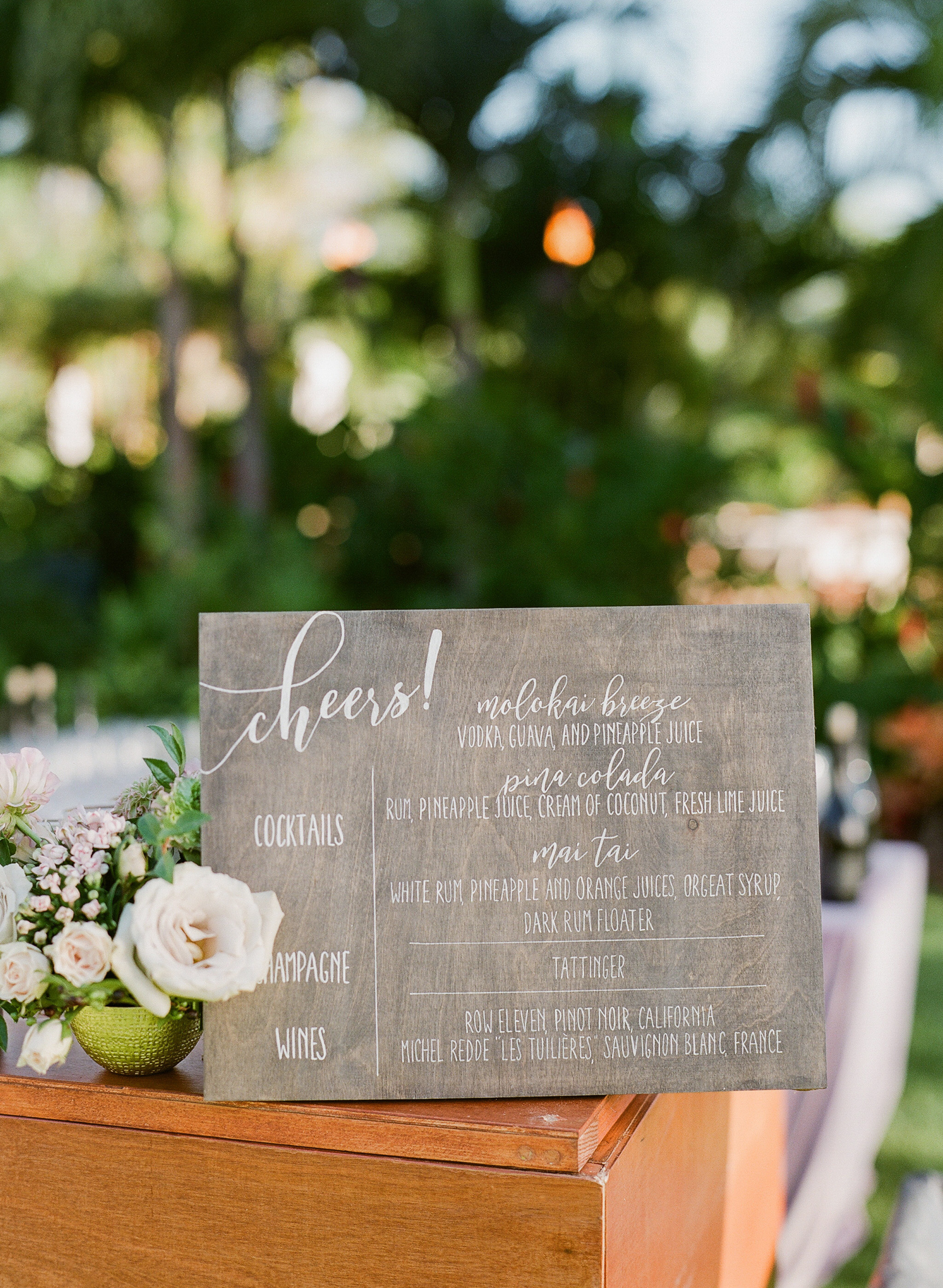 hawaiian wedding cocktail hour wooden menu sign