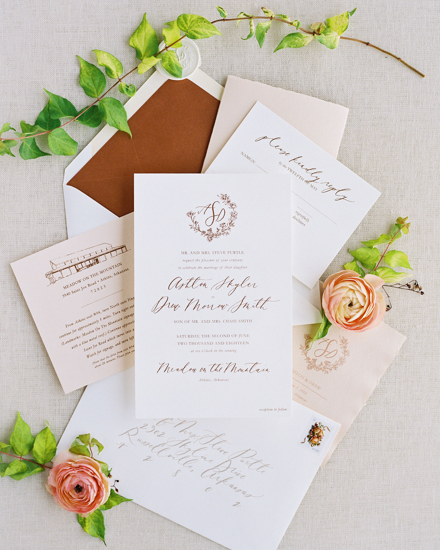 wedding invitation set raised textured letter copper calligraphy