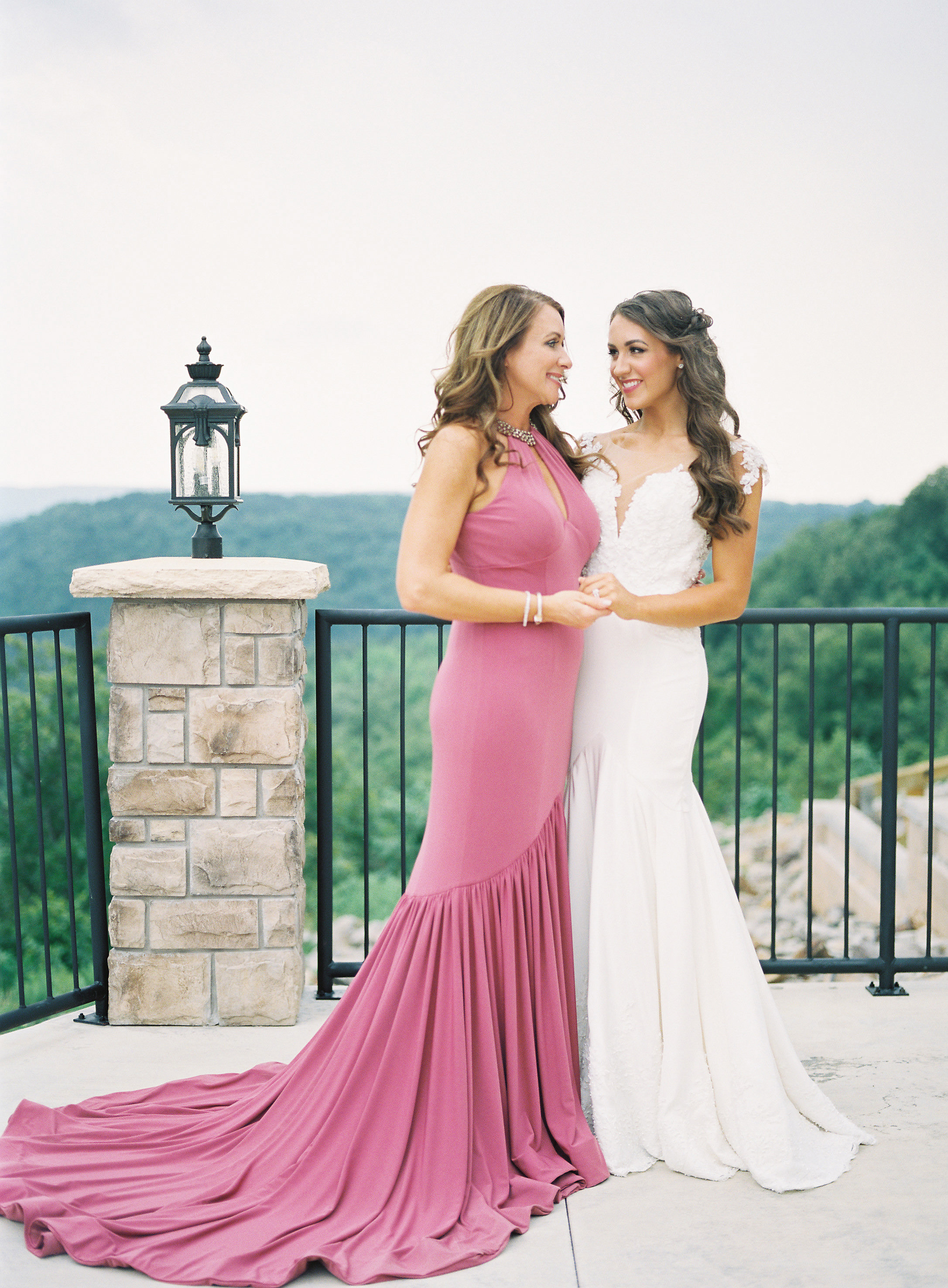 bride and mother wedding dresses scenic viewpoint