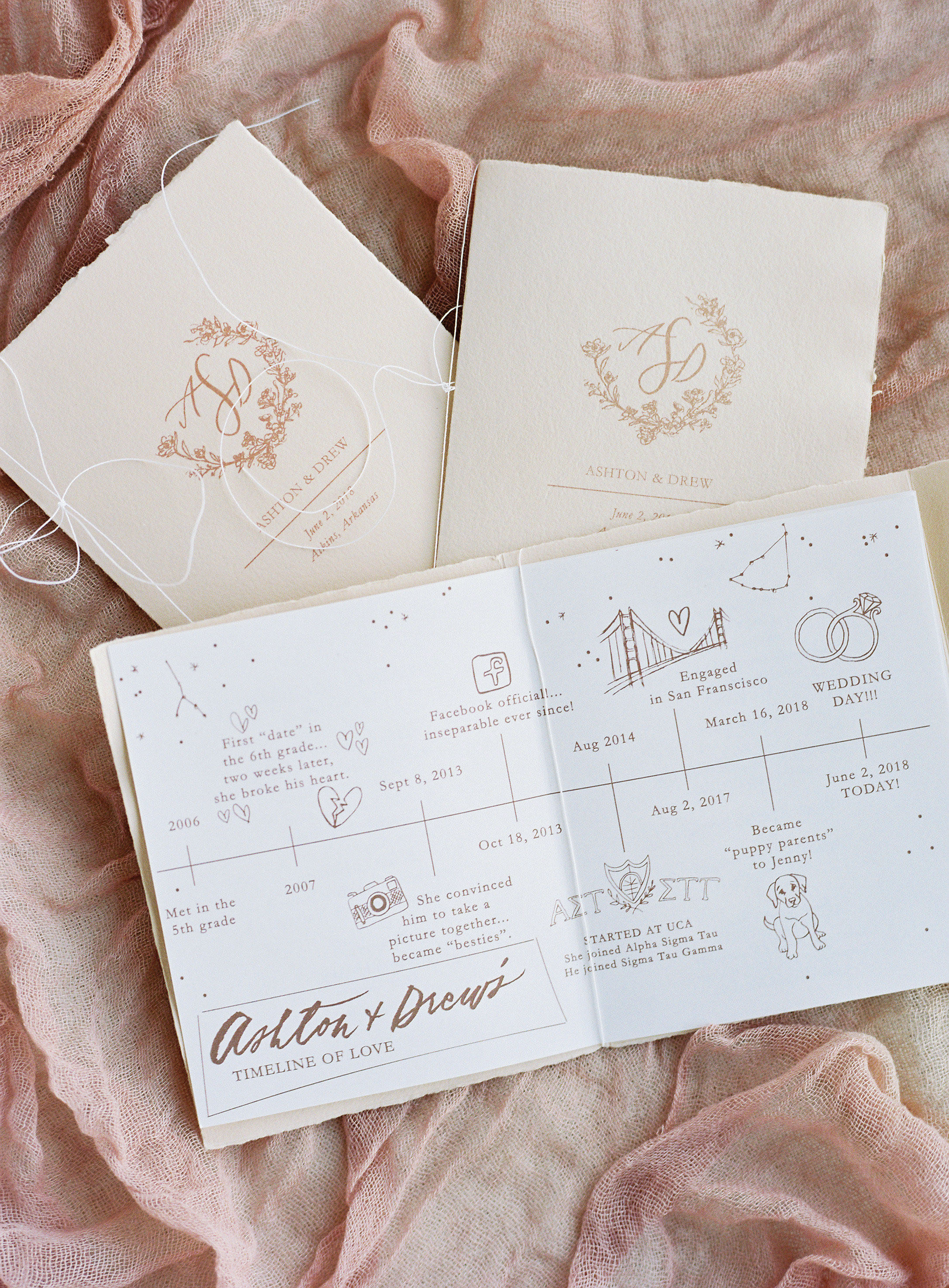 wedding program booklet homemade peach colored paper