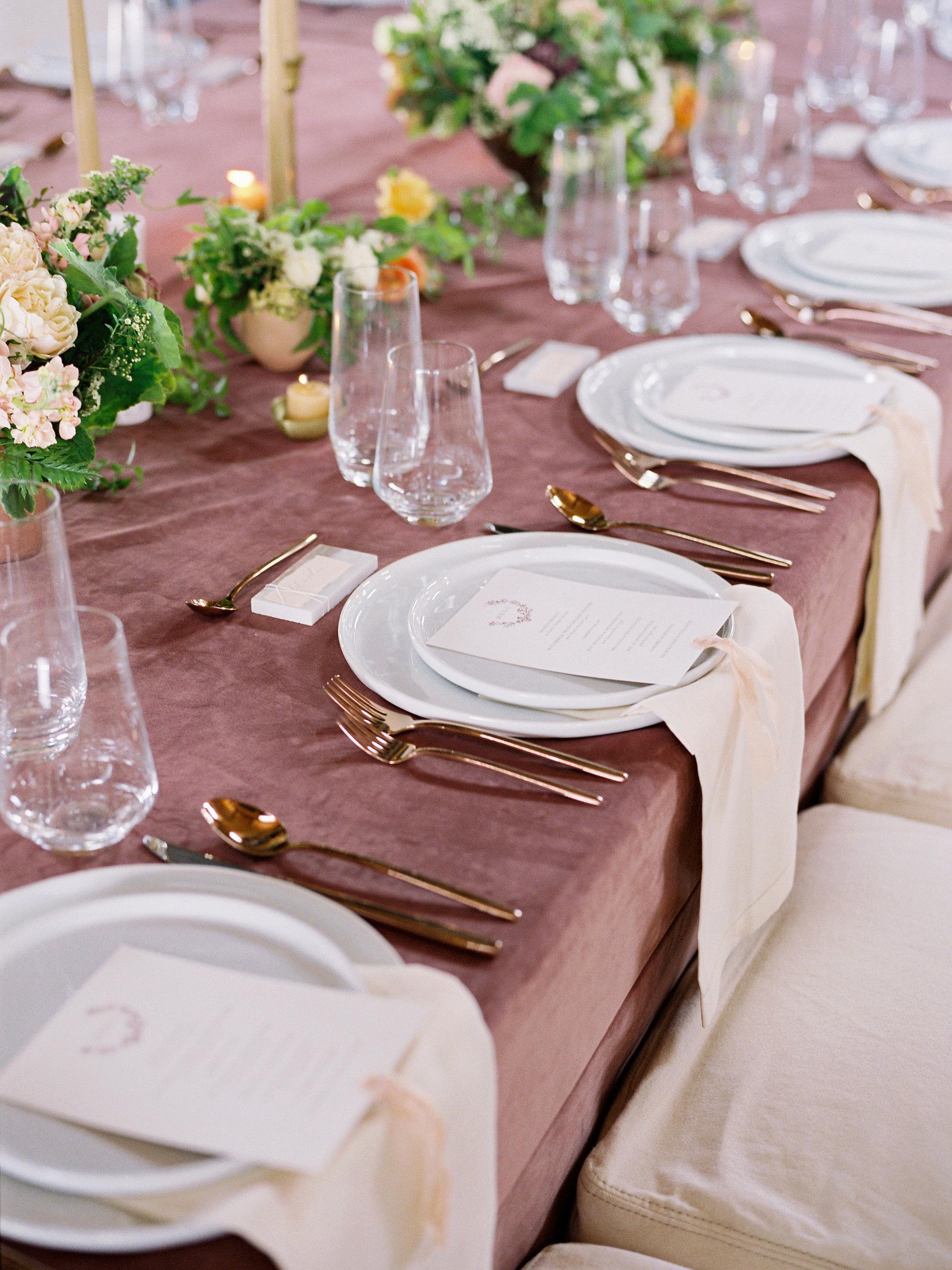 wedding table place setting ceramic dinnerware copper flatware