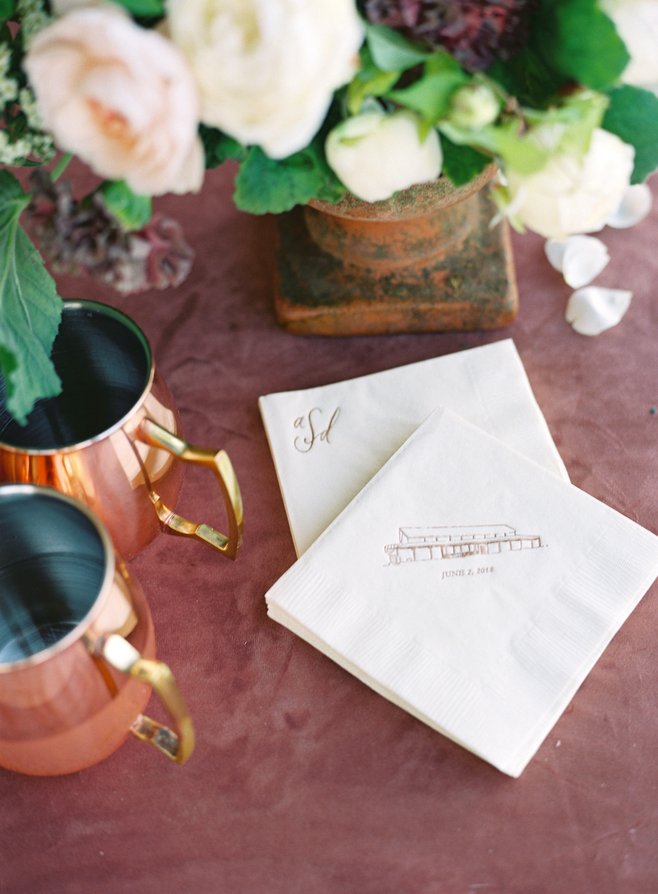 customized white napkins wedding logo