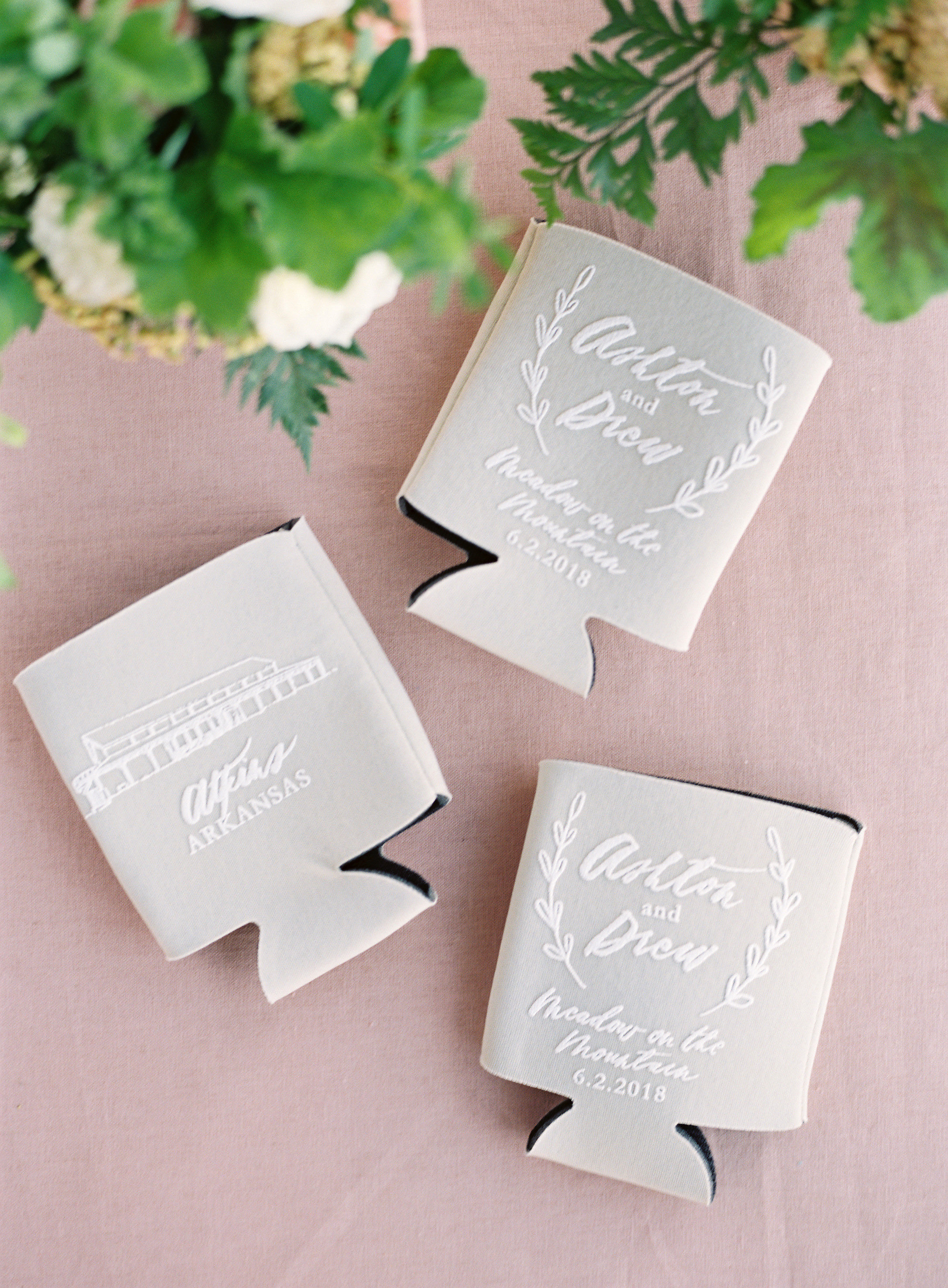 personalized gray drink koozies