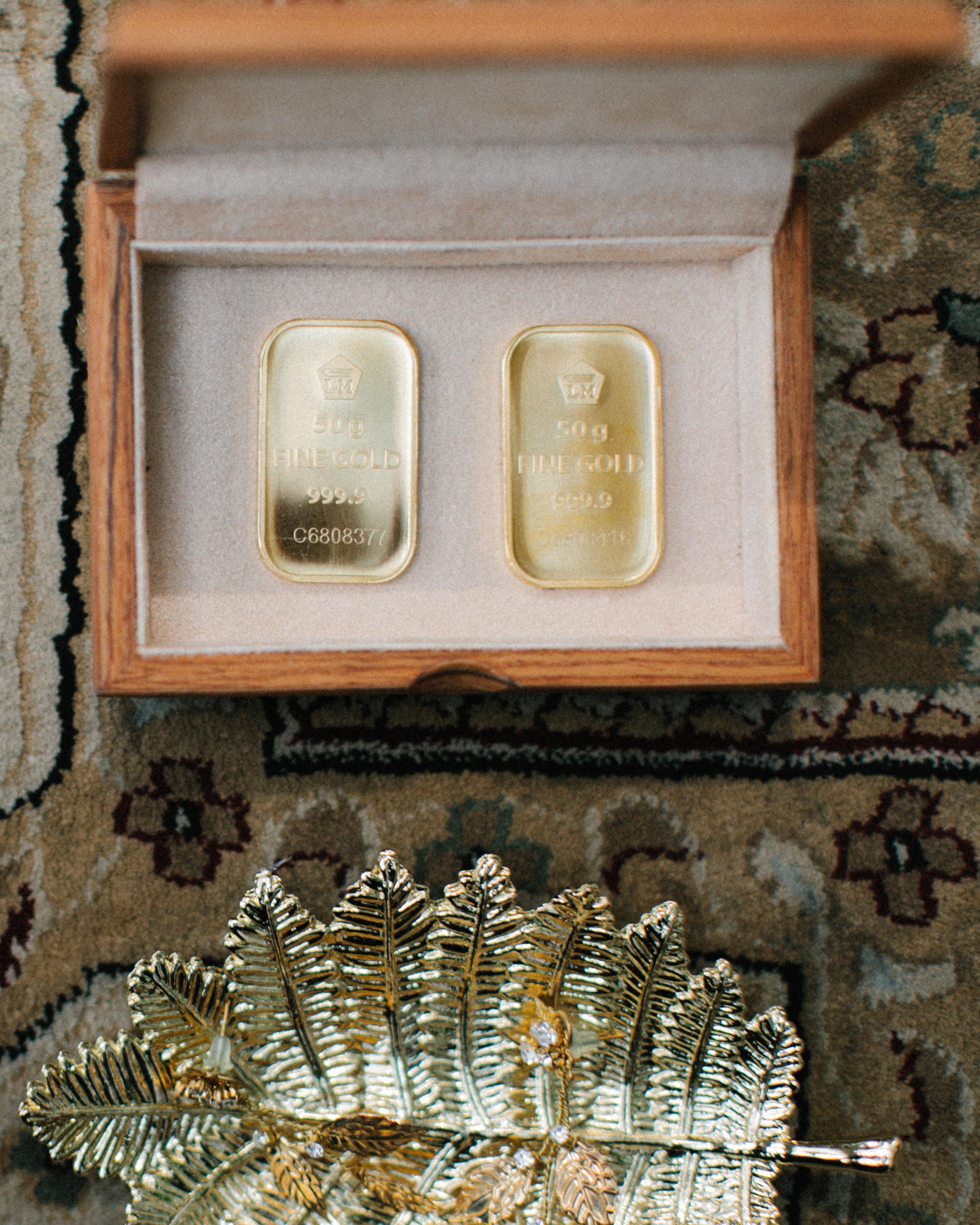 small wooden box gold mahr gift to bride