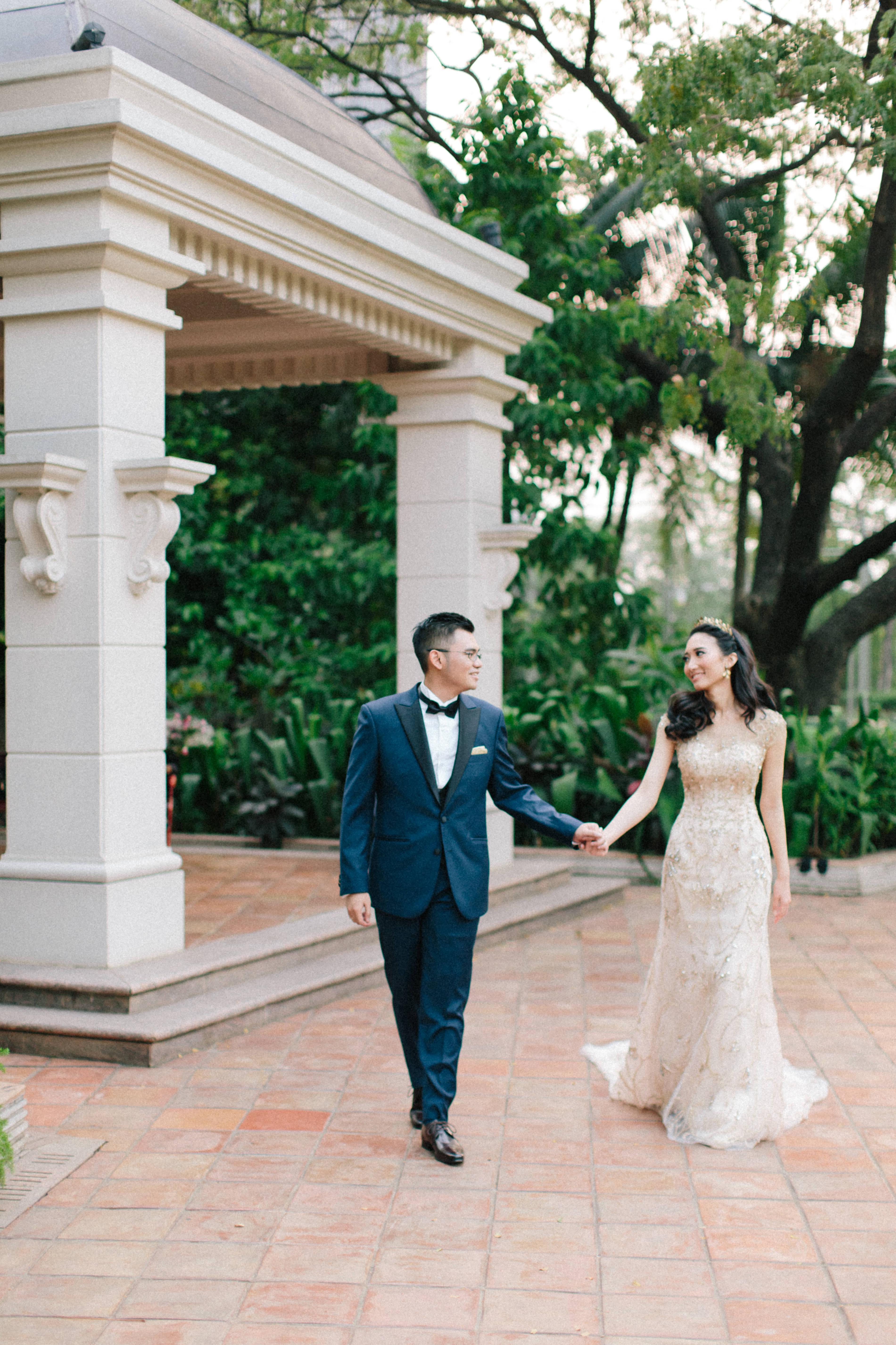 wedding reception bride groom formal wear walk together