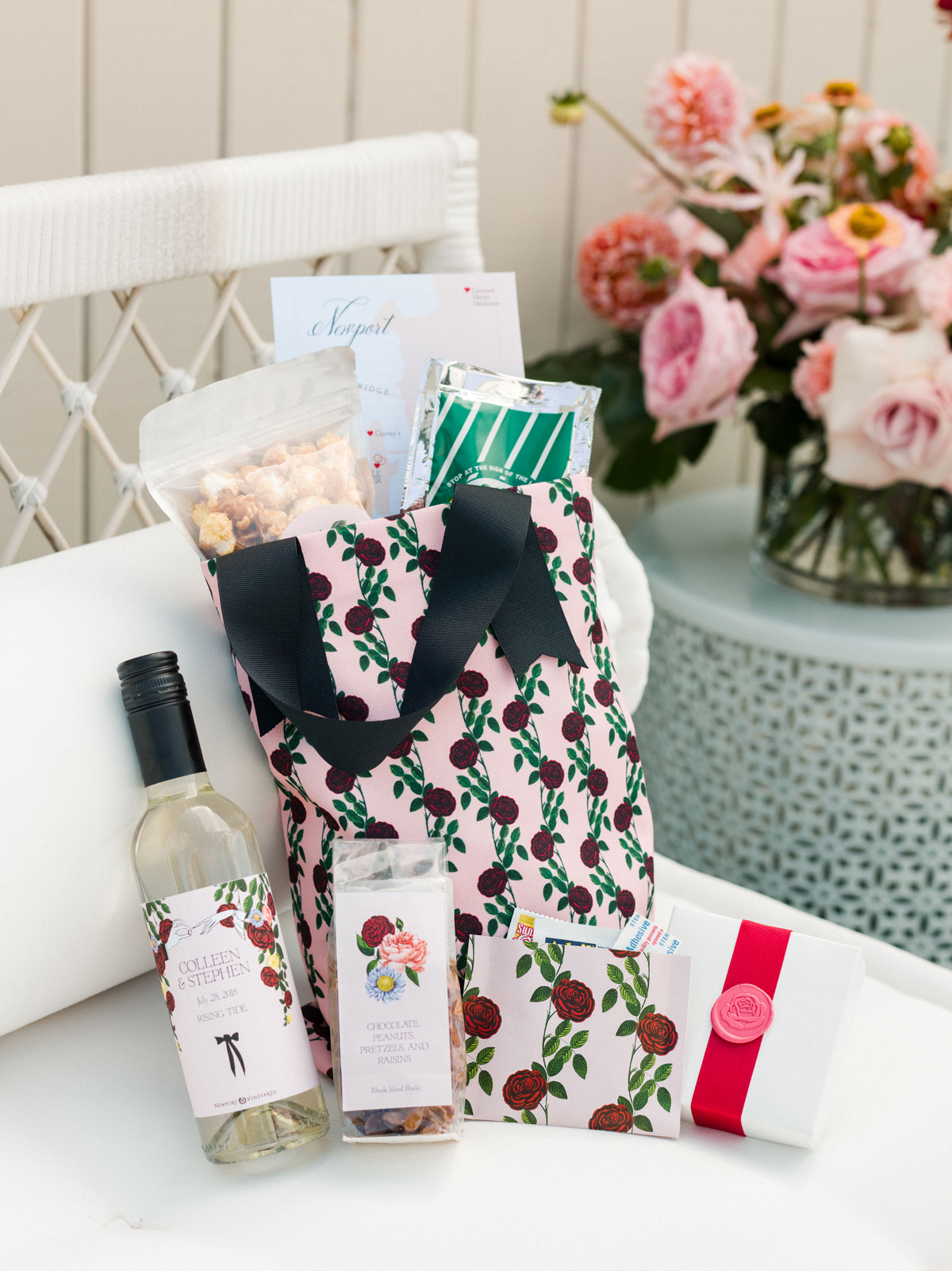 colleen stephen newport wedding floral welcome bag with wine