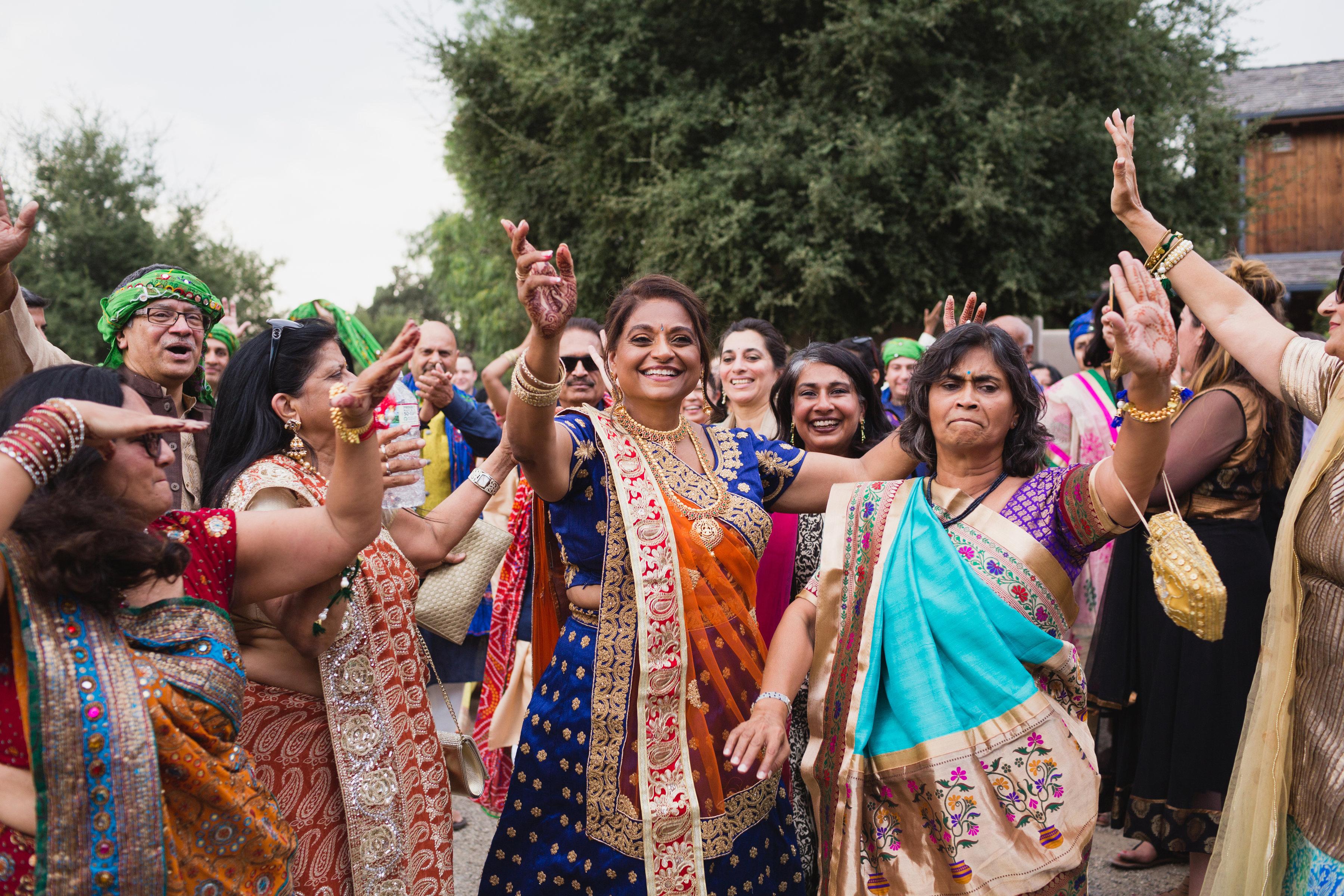 california indian jewish wedding guests dancing