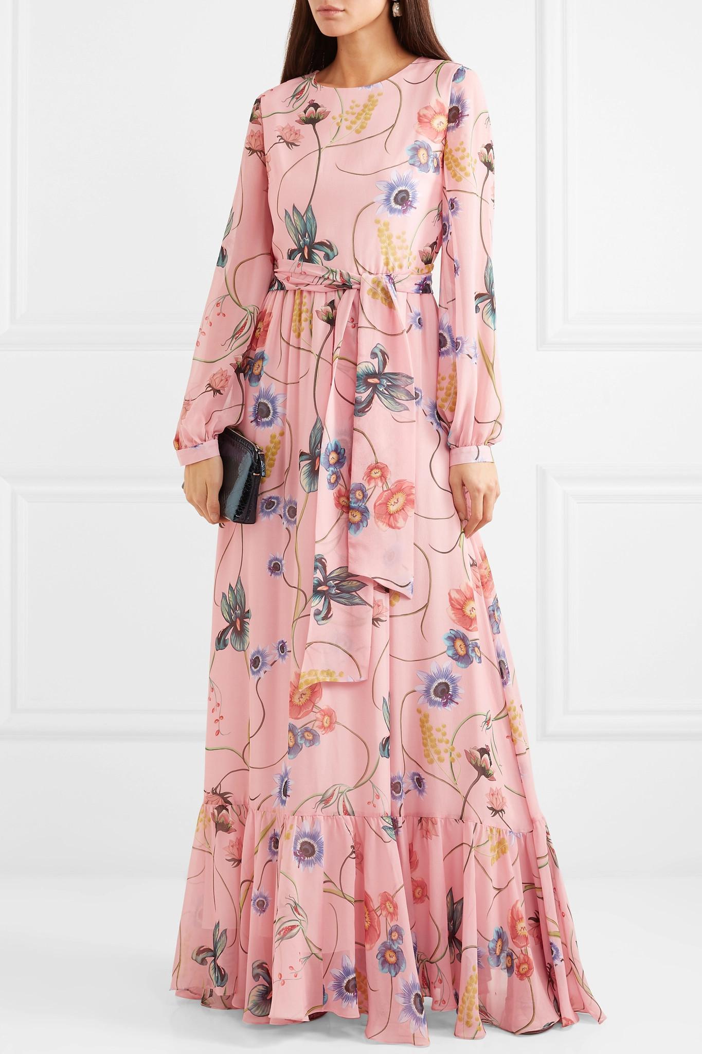 borgo de nor floral print silk crepe maxi dress