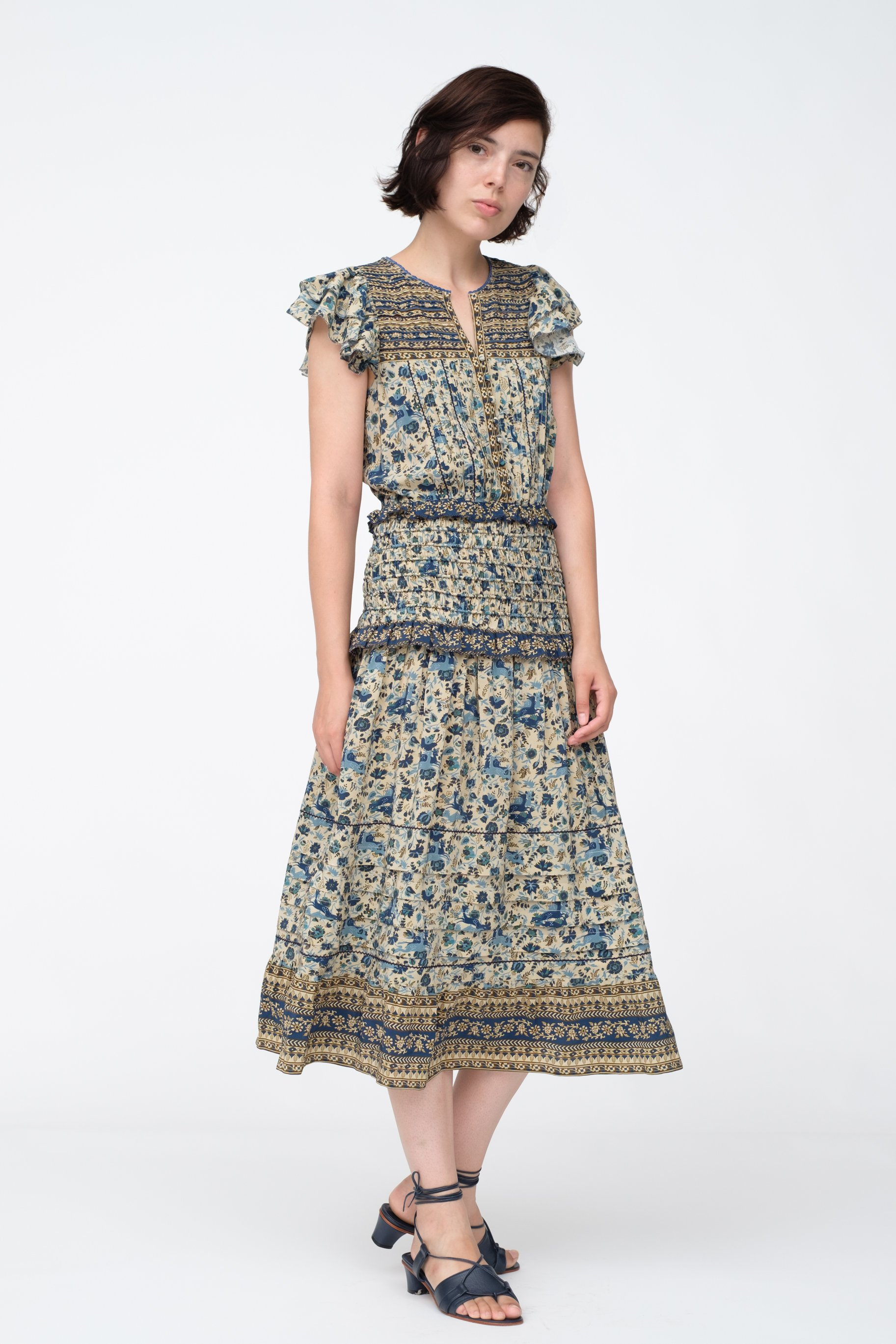 floral sea dress with drop waist and cap sleeves