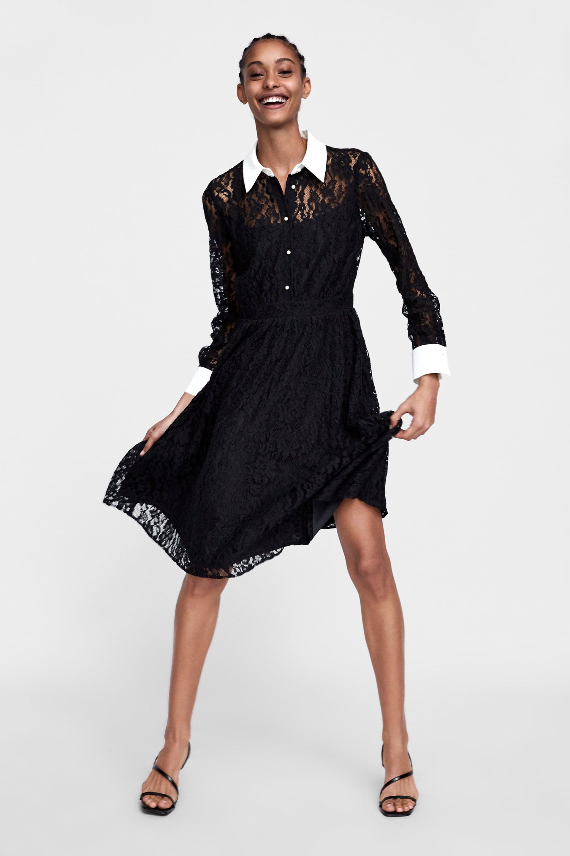 black lace zara dress with white collar