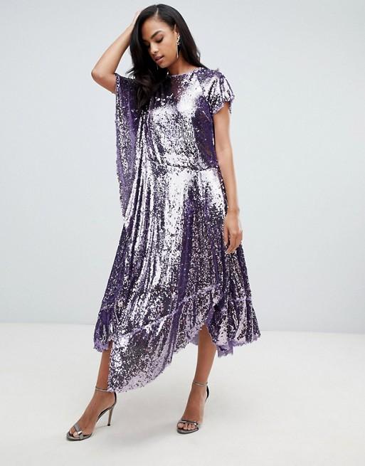 asos drape sequin dress