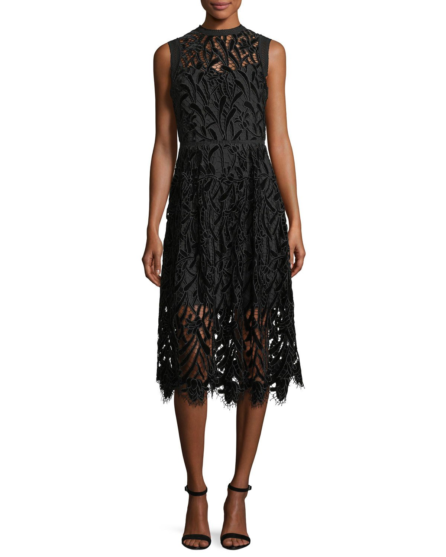 black lace shoshanna dress with midi hemline