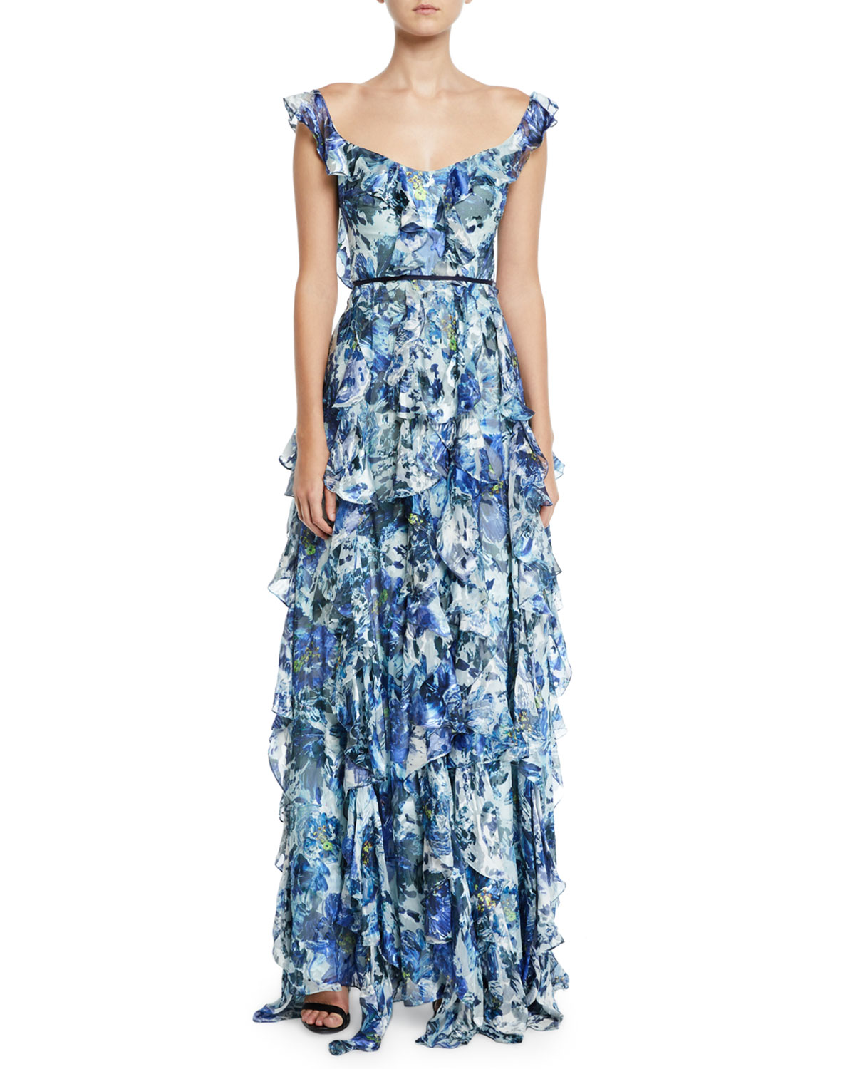 marchesa notte blue gown with ruffles