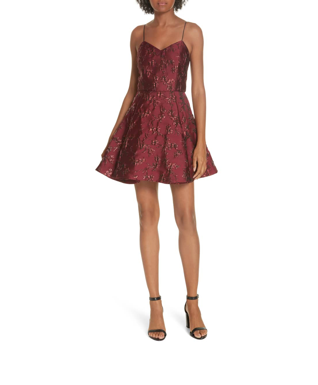 short red jacquard alice and olive dress