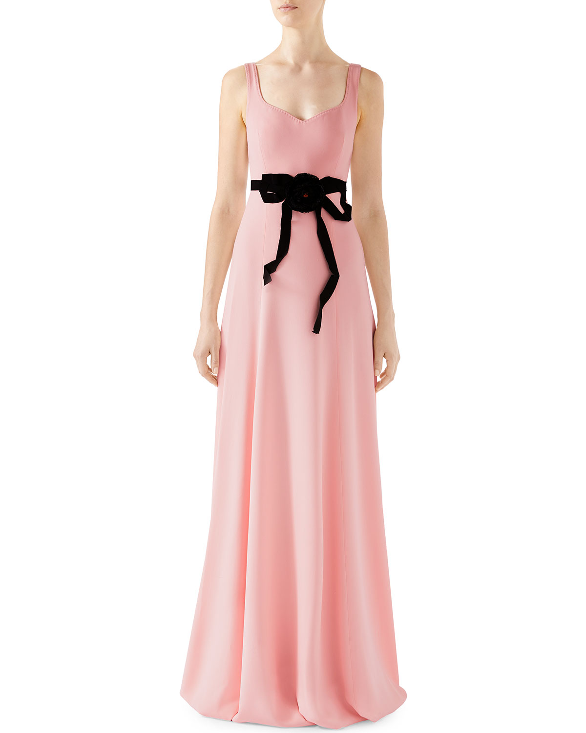 pink gucci gown with black bow