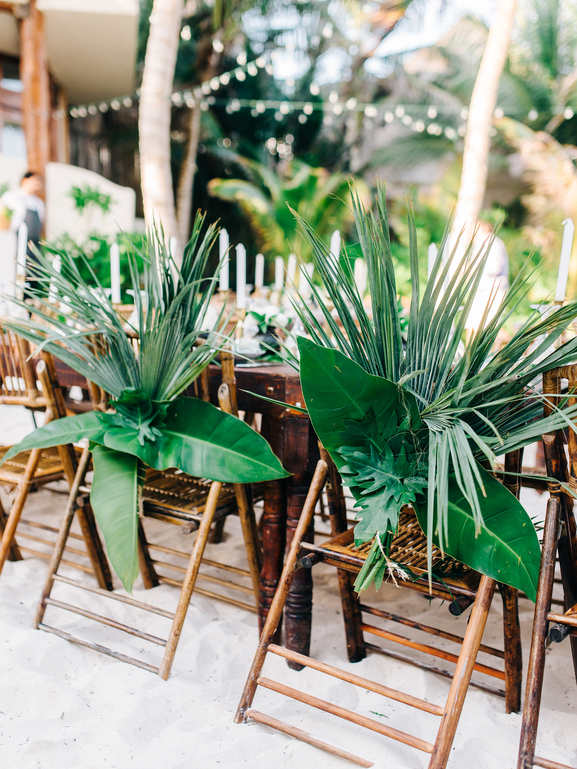 Chair Backs with Tropical Palms and Ferns