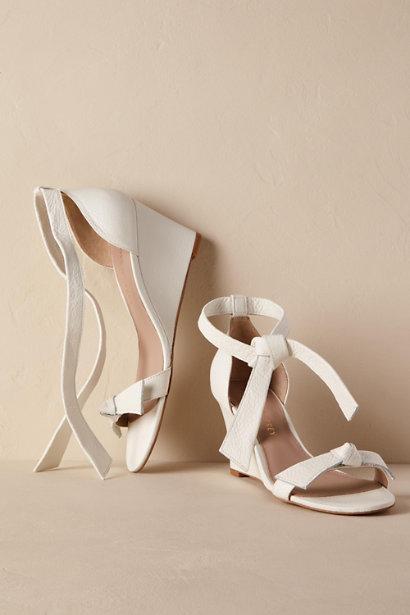 wedding wedges white leather bows