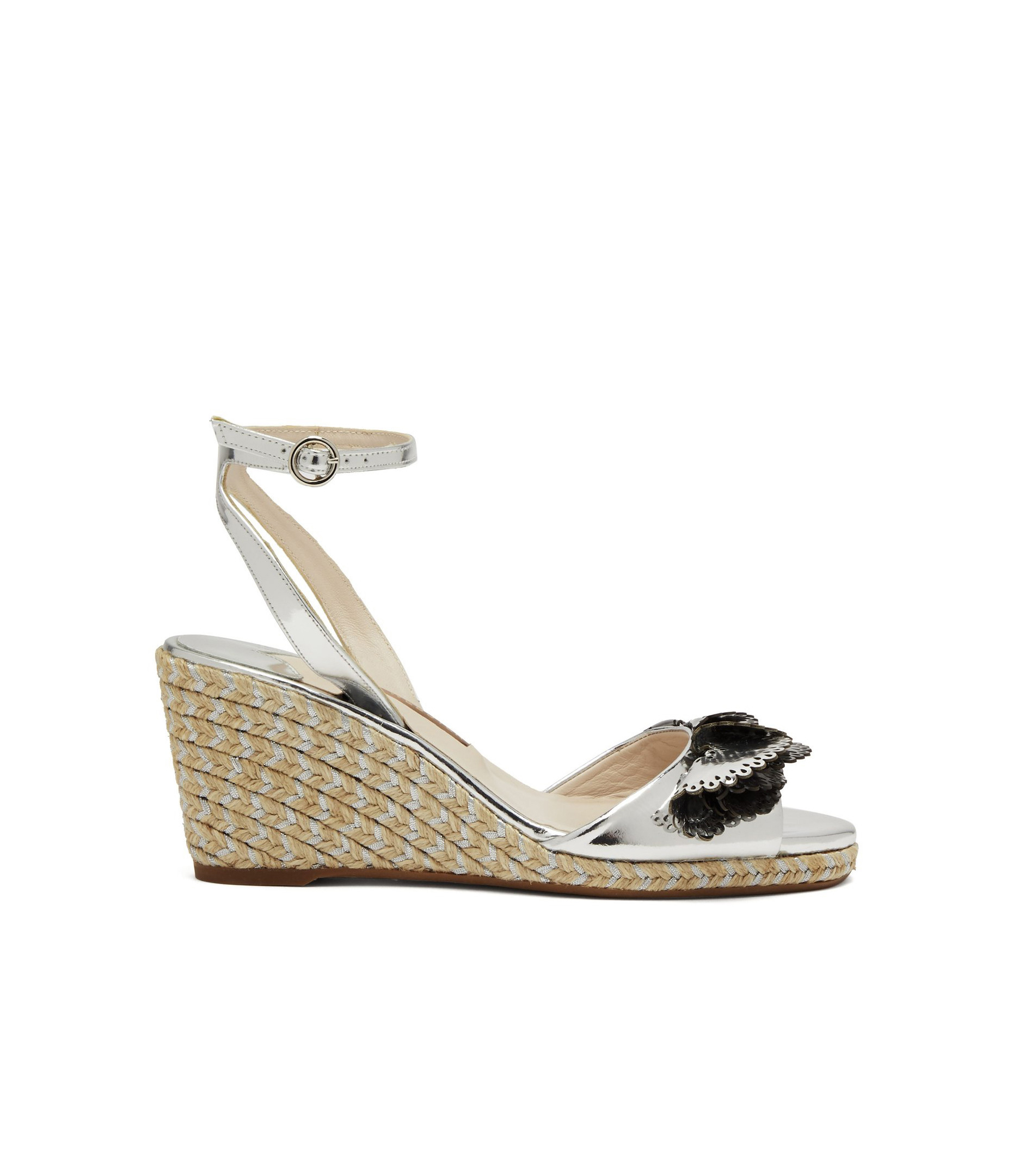 wedding wedges with black and silver embellished front
