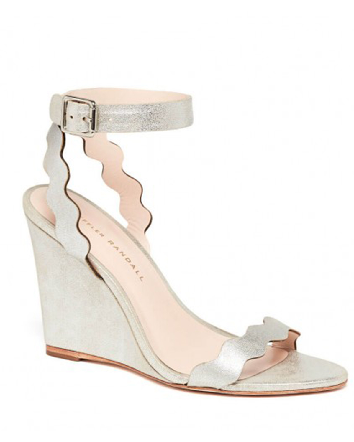 wedding wedges with squiggle-shaped strapes