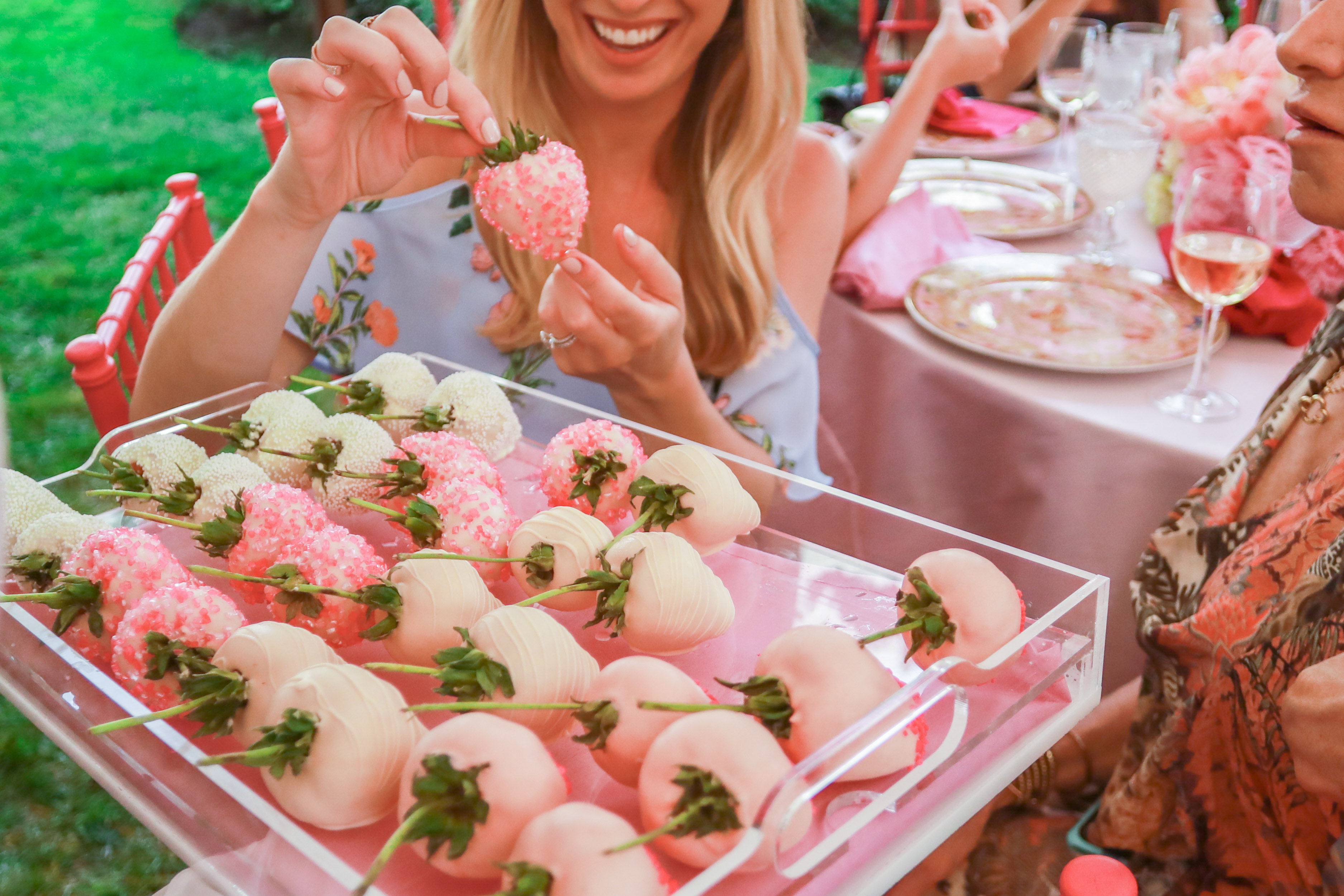 bridal shower pink covered strawberries