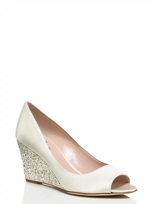 wedding wedges with gold glitter heel