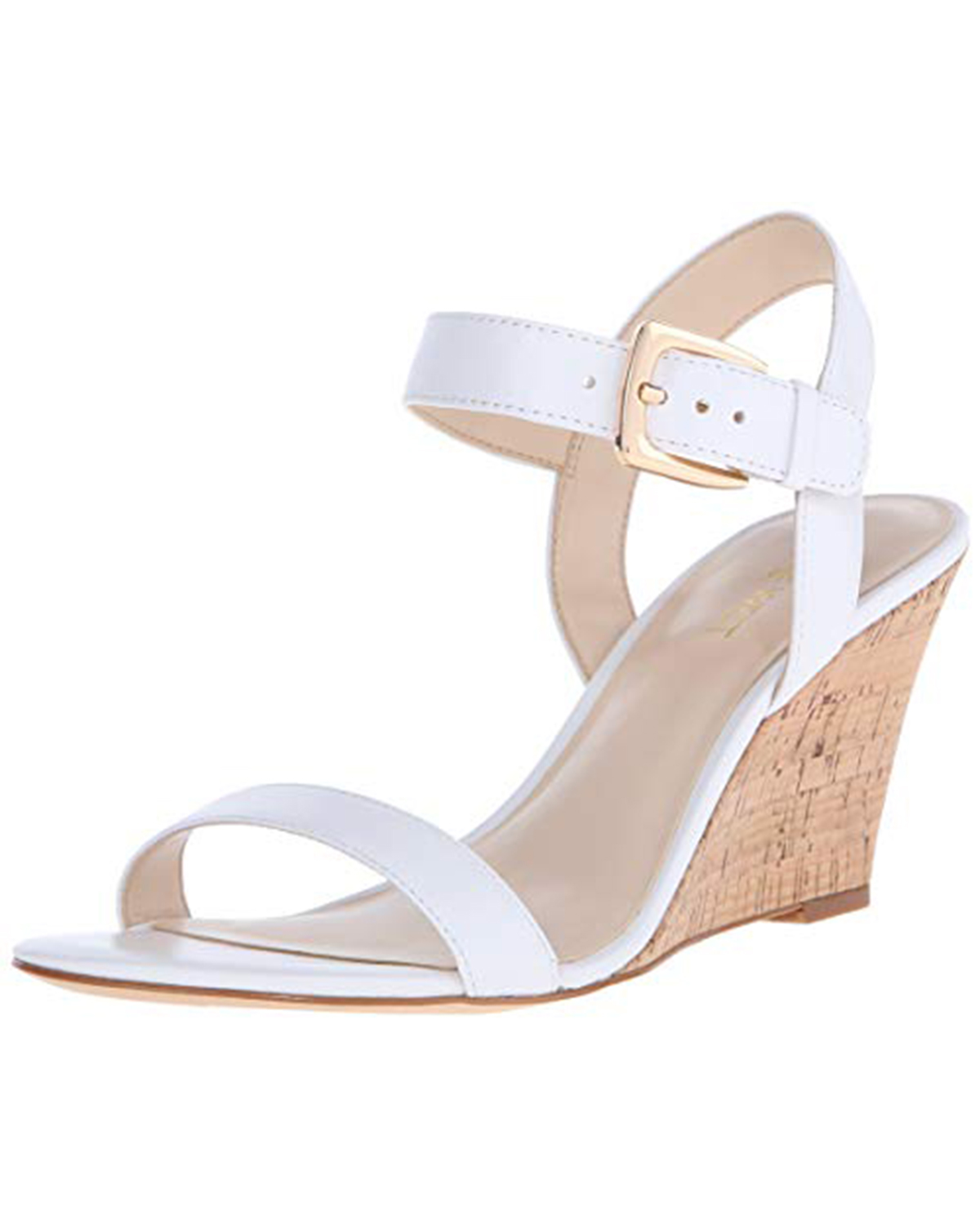 wedding wedges white leather with gold buckle