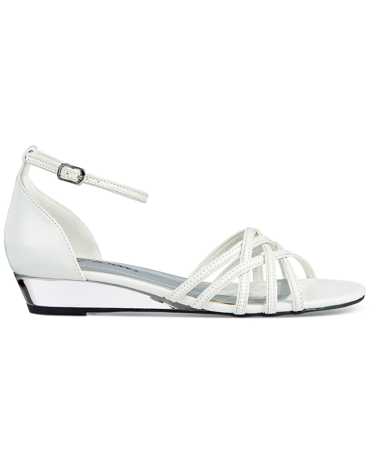 wedding wedges with white woven strap front
