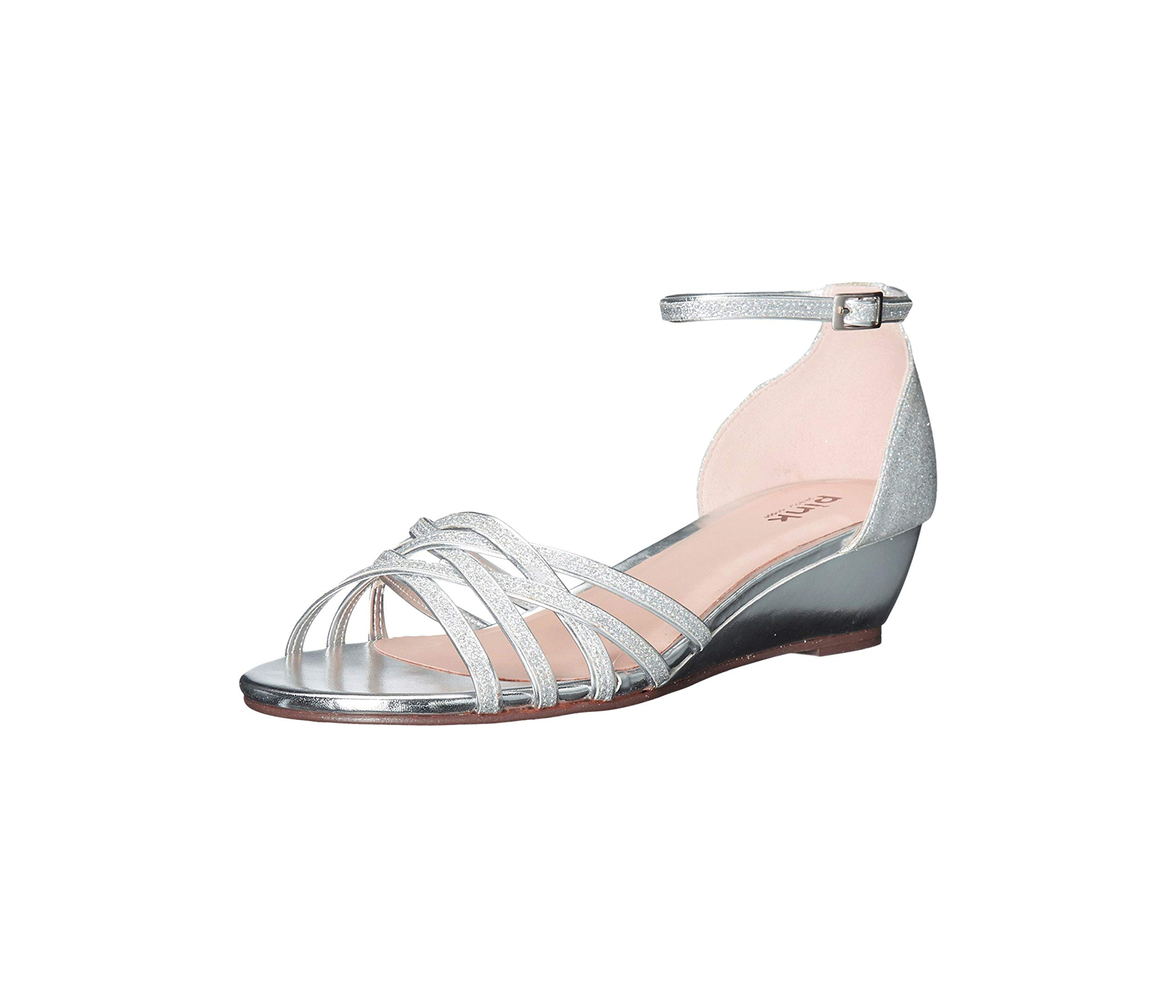 wedding wedges silver glitter woven front