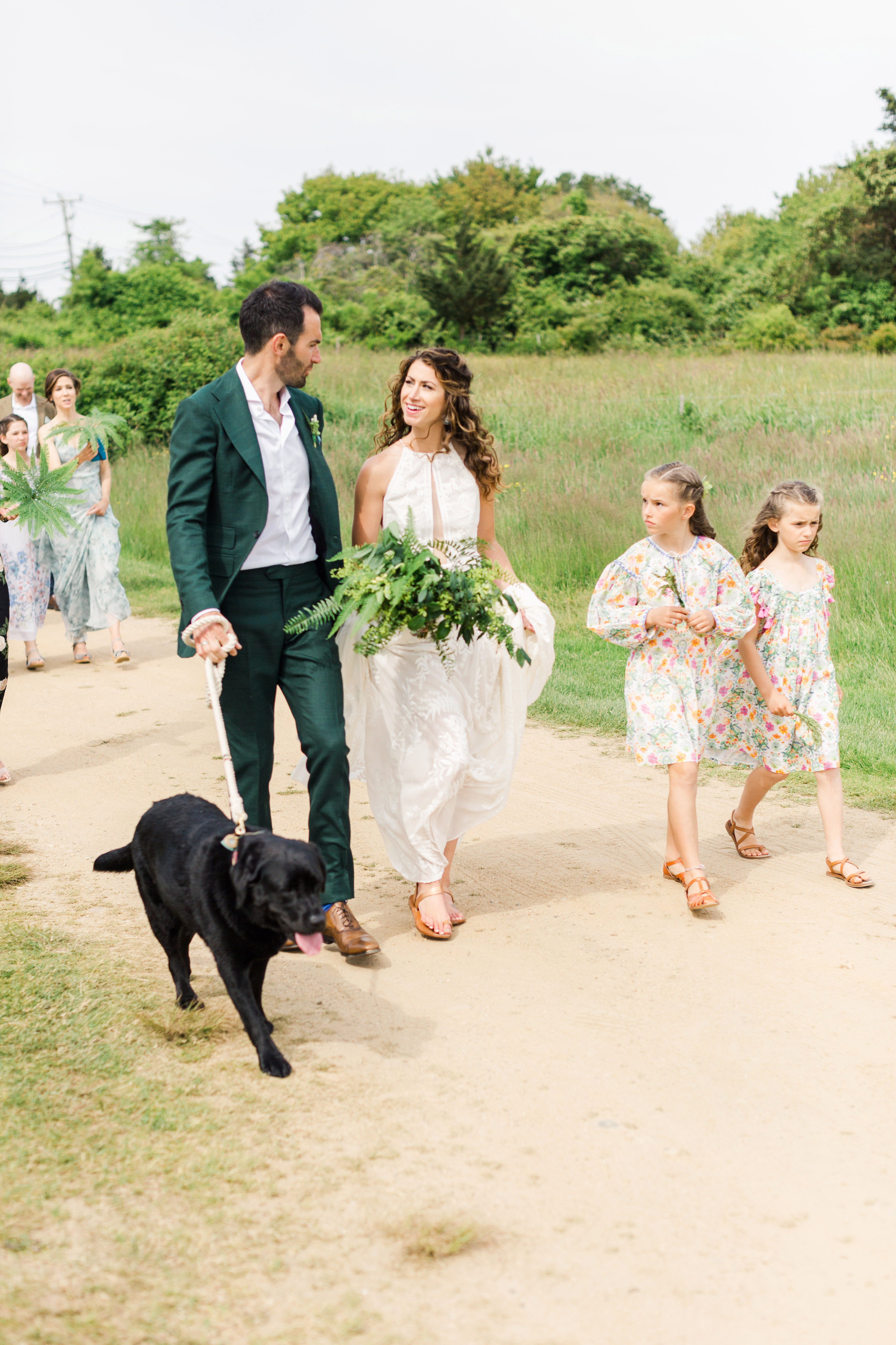 molly ed wedding parade with bride groom daughters and dogs