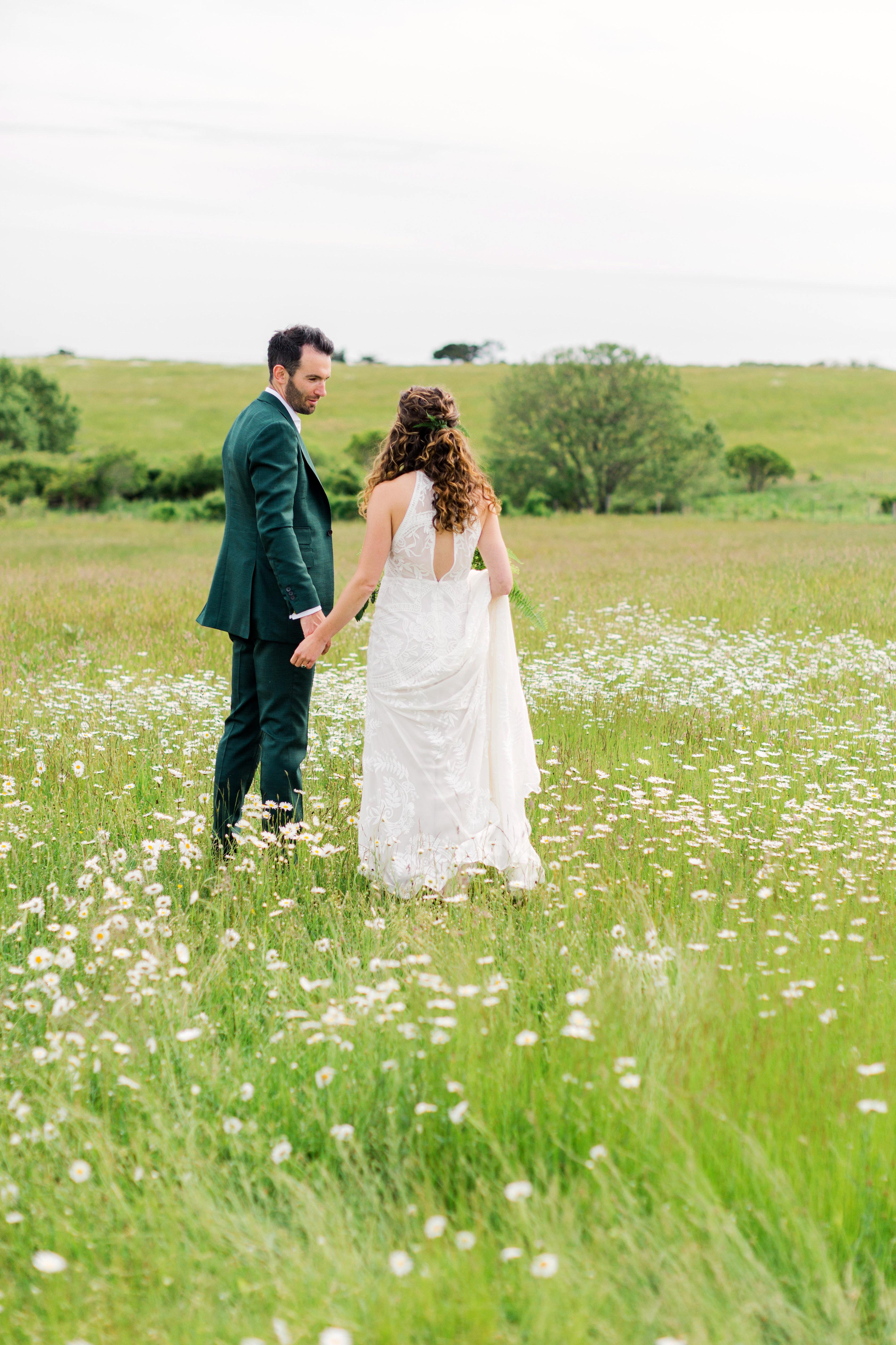 molly ed wedding couple bride groom in field