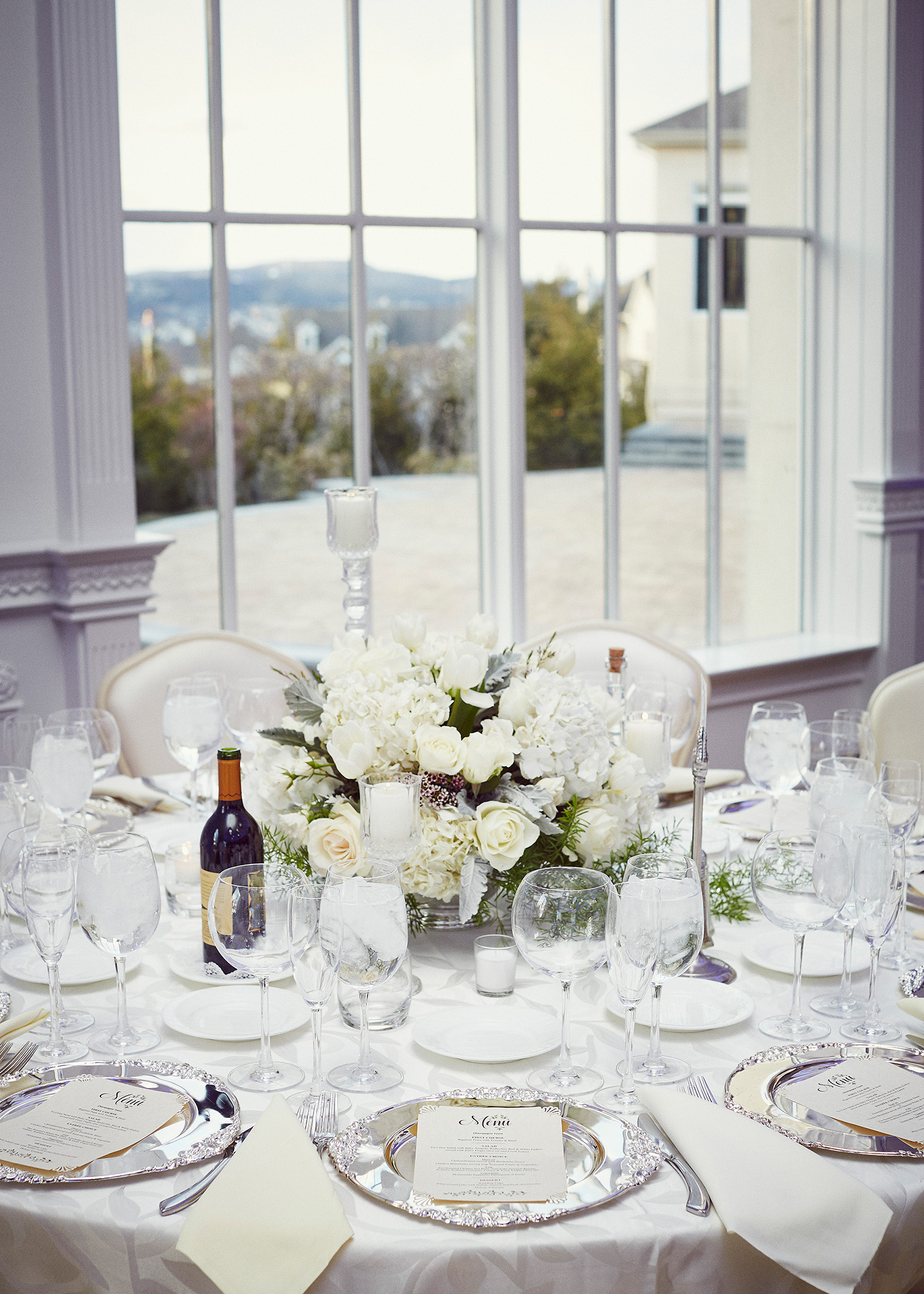 shqipe zenel wedding table centerpiece white